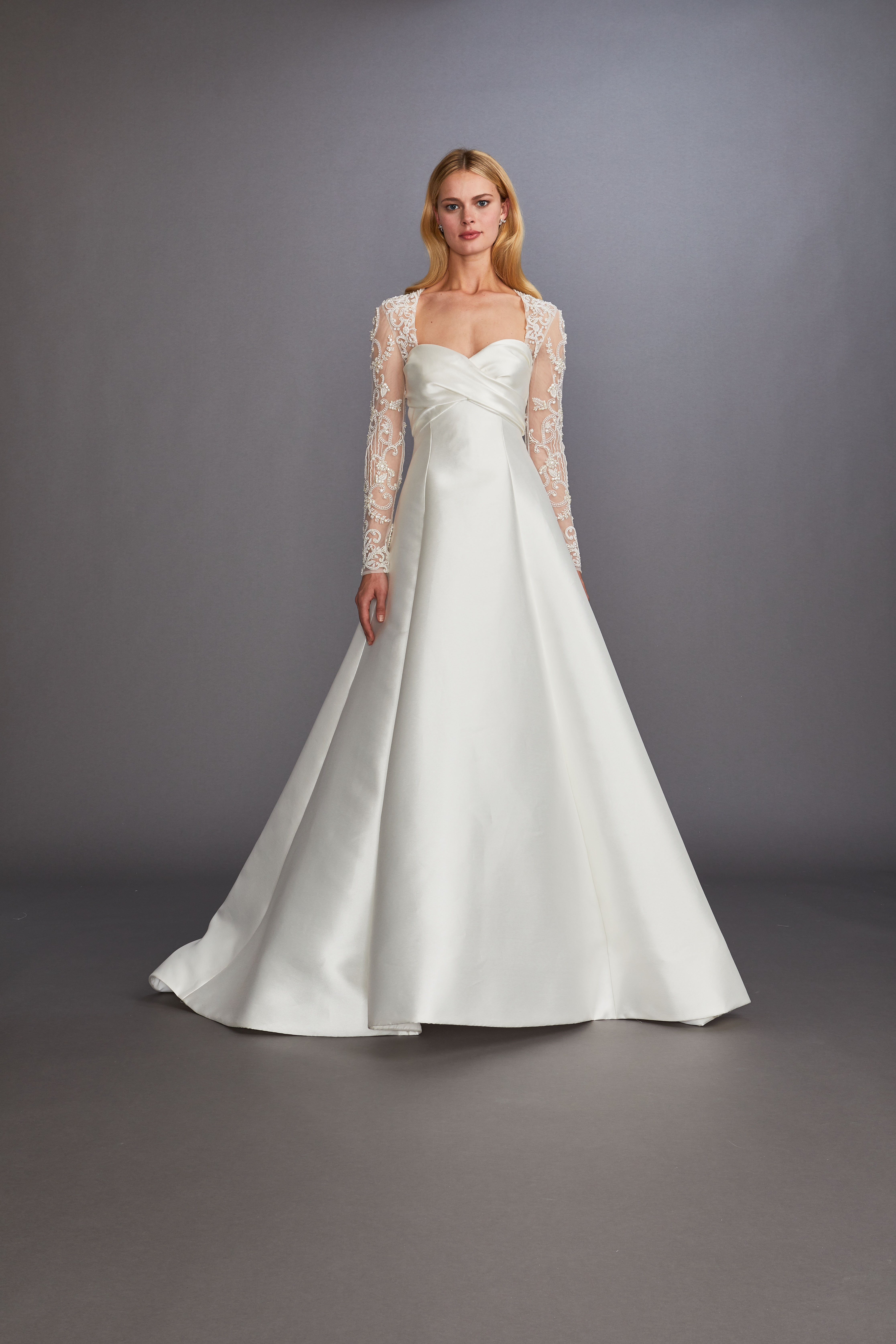 square sweetheart neckline lace long sleeves ruching bodice a-line wedding dress Allison Webb Spring 2020