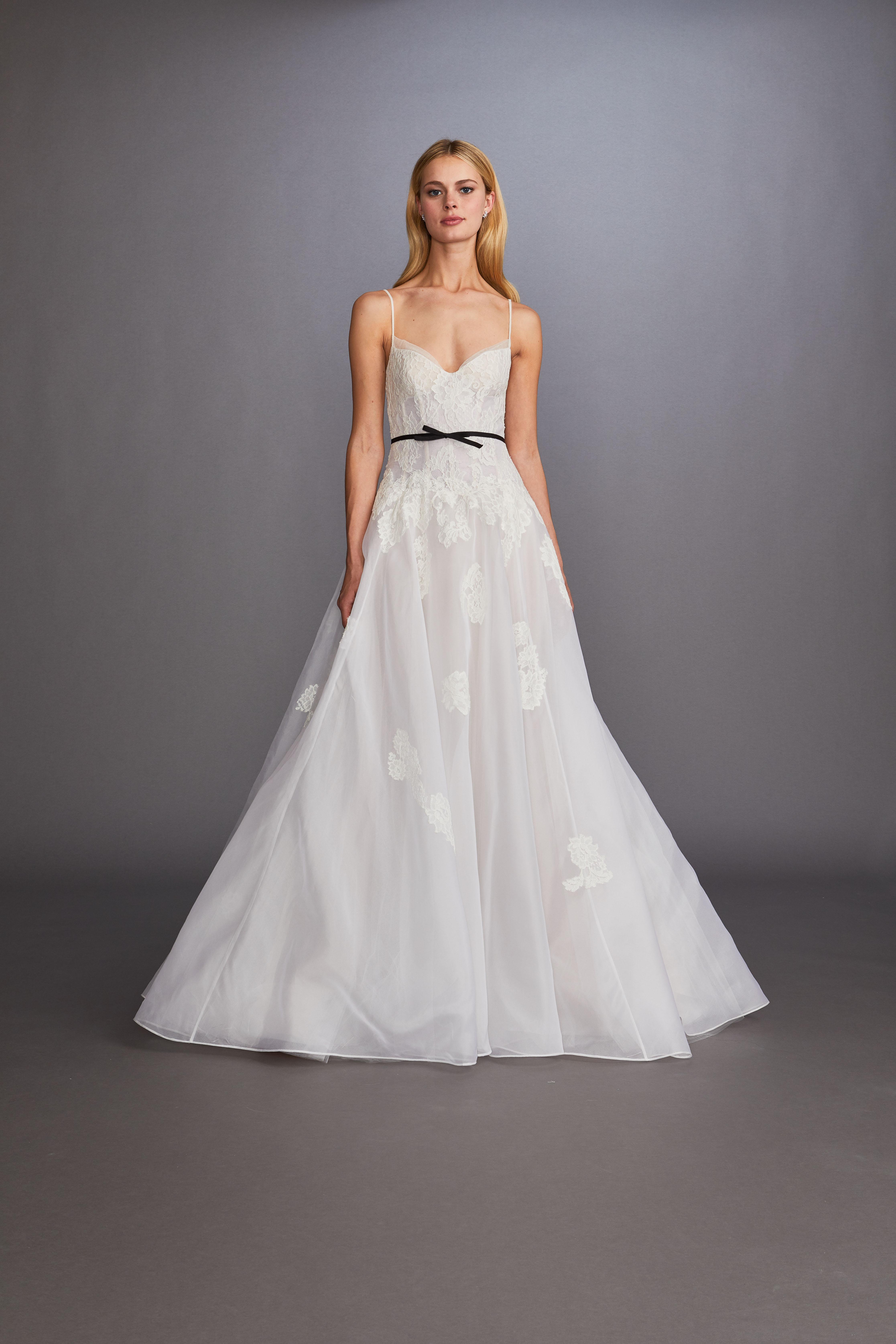 spaghetti strap sweetheart neckline lace tulle black belt a-line wedding dress Allison Webb Spring 2020