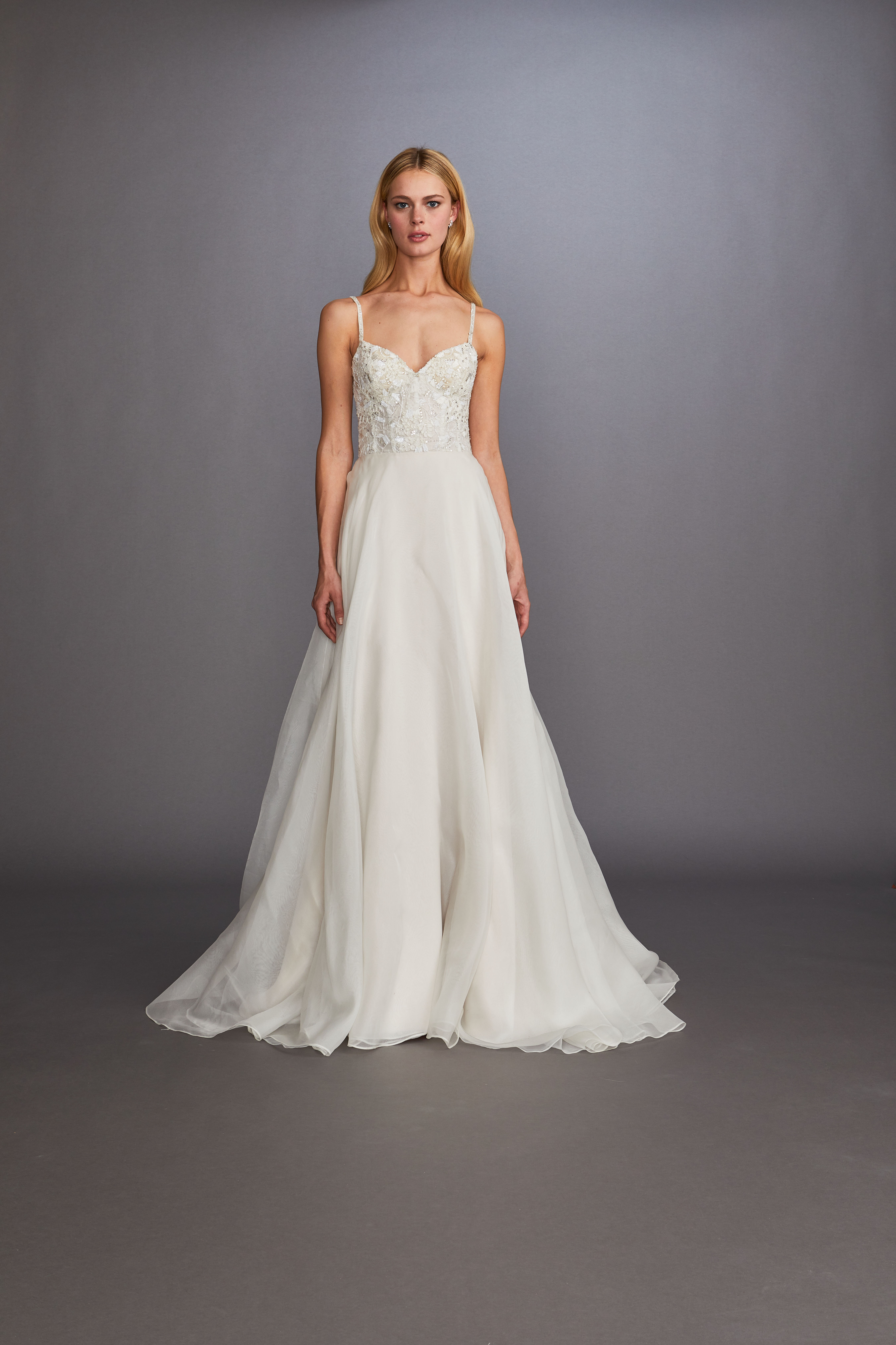 spaghetti strap sweetheart neckline lace beading tulle a-line wedding dress Allison Webb Spring 2020
