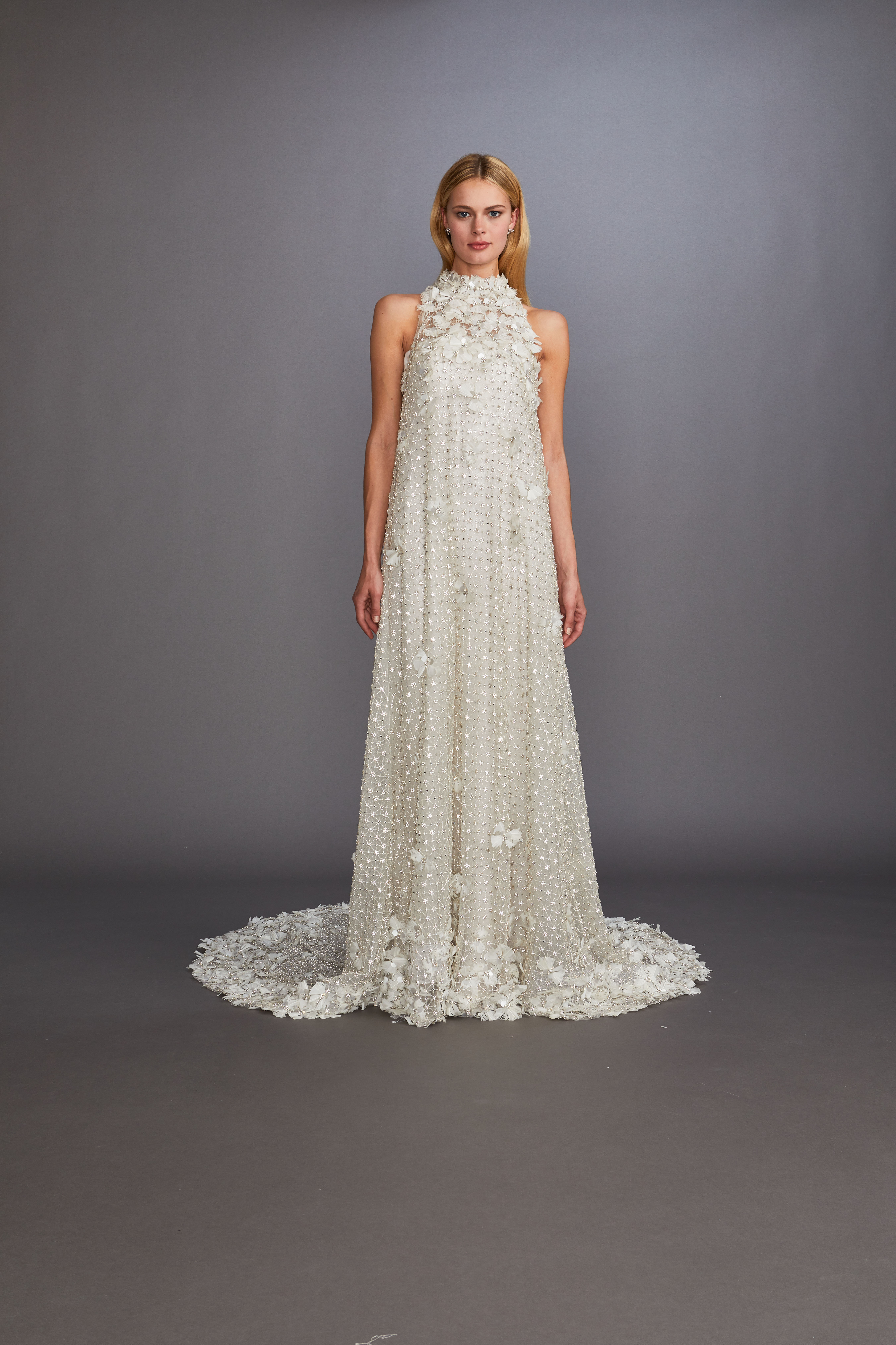 high neck sleeveless beaded floral appilque sheath wedding dress Allison Webb Spring 2020