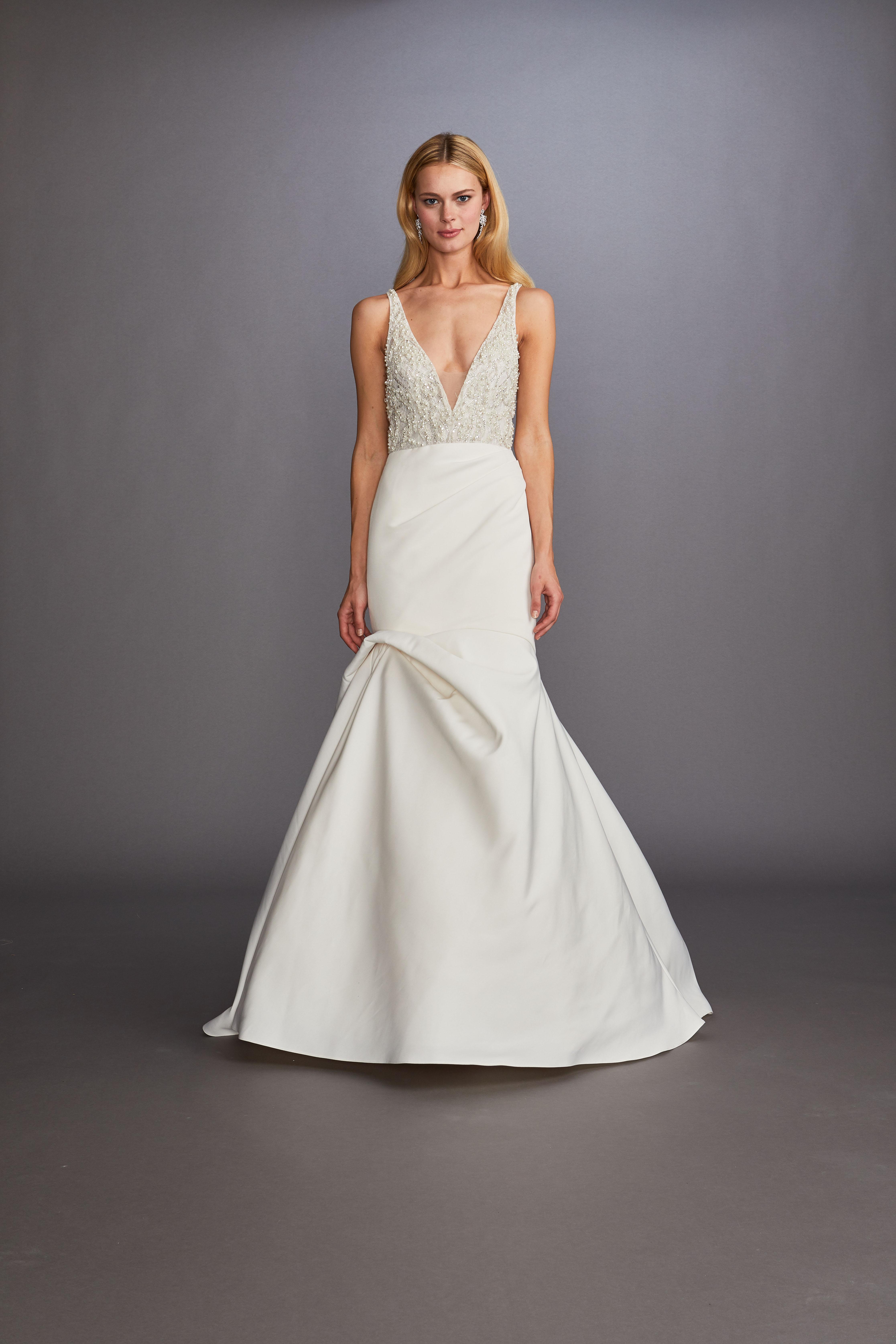 thick spaghetti strap deep v-neck beaded bodice trumpet wedding dress Allison Webb Spring 2020