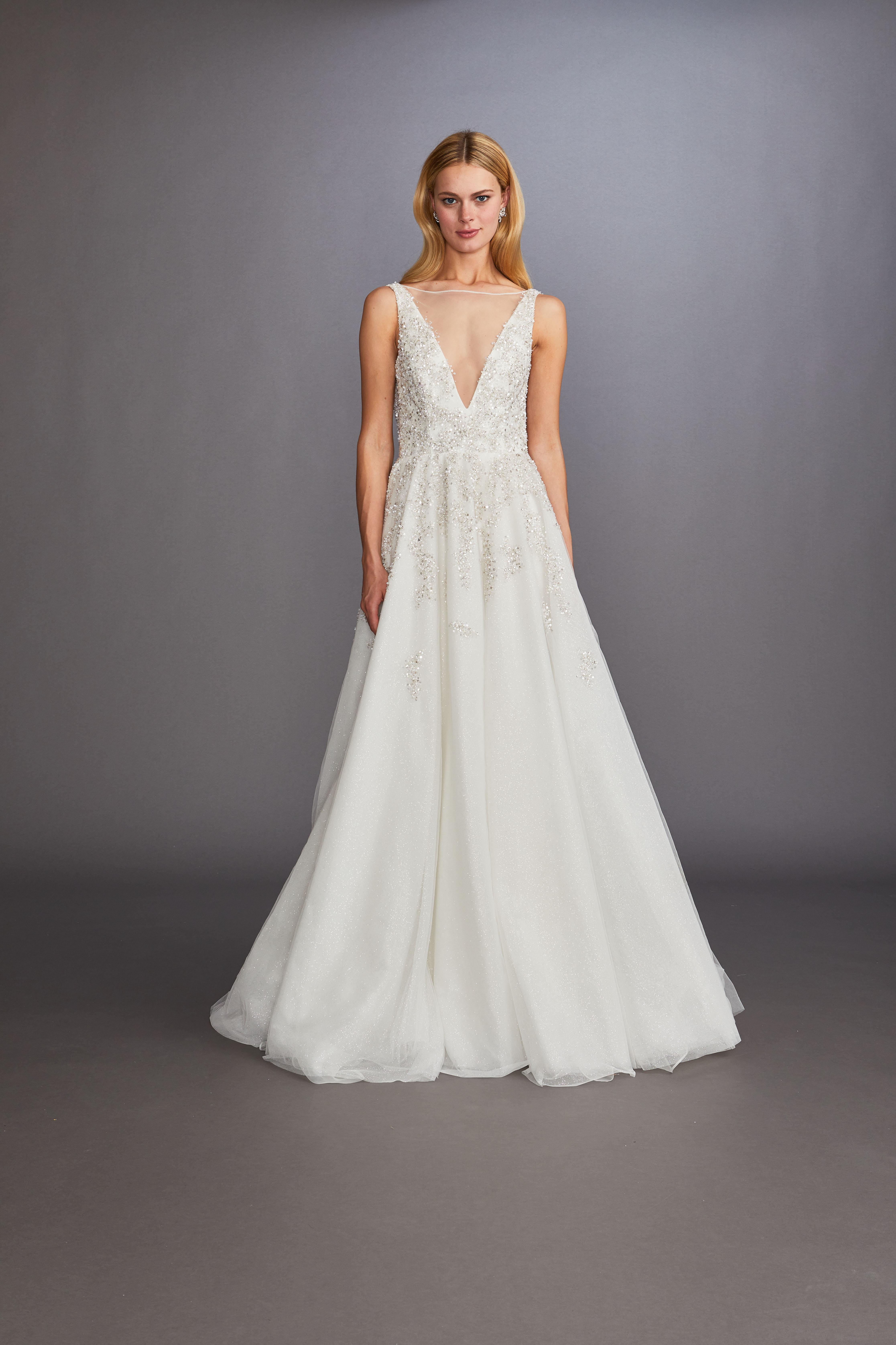illusion boat neck sleeveless beaded a-line wedding dress Allison Webb Spring 2020