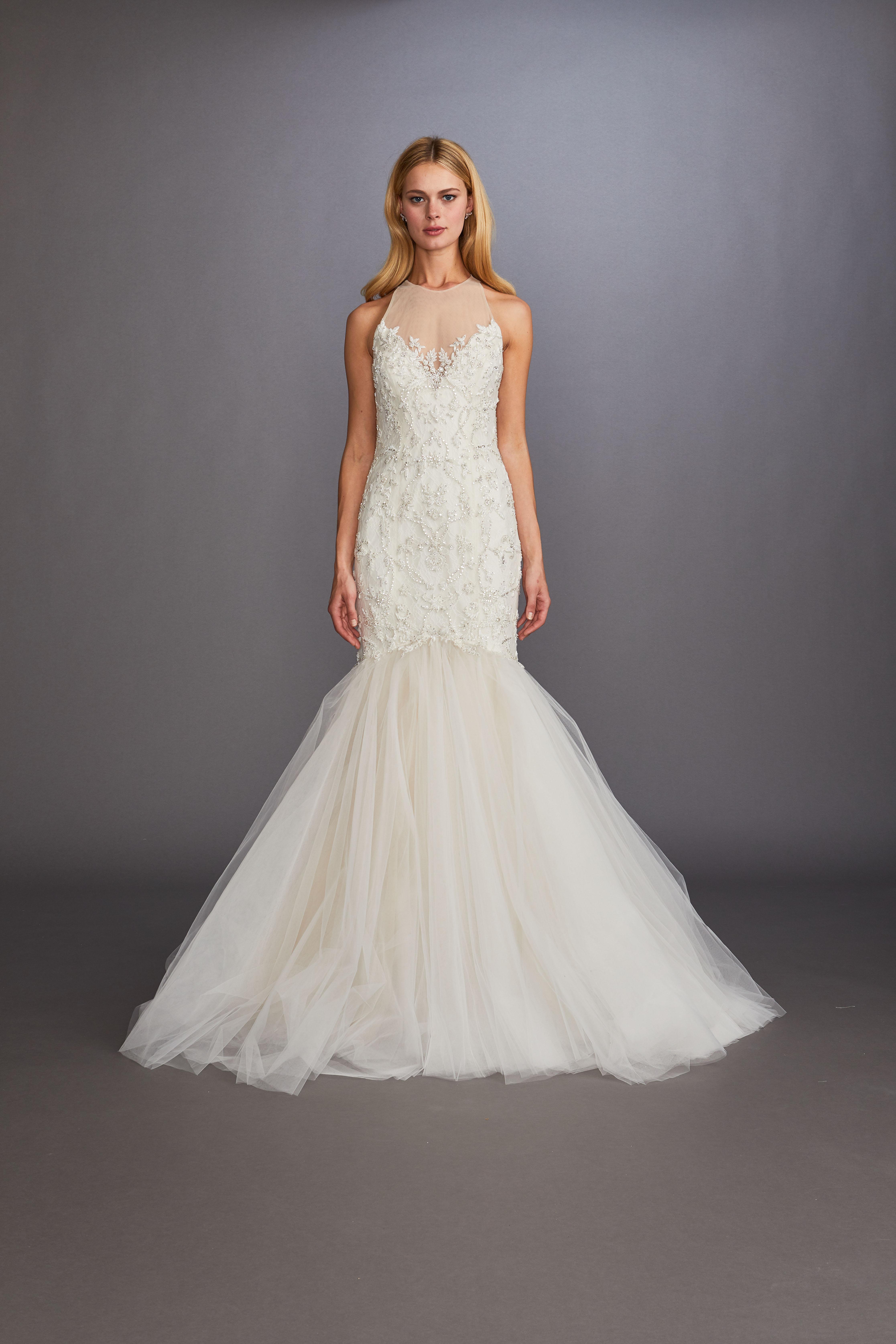 illusion hight neck sleeveless beaded glitter trumpet wedding dress Allison Webb Spring 2020
