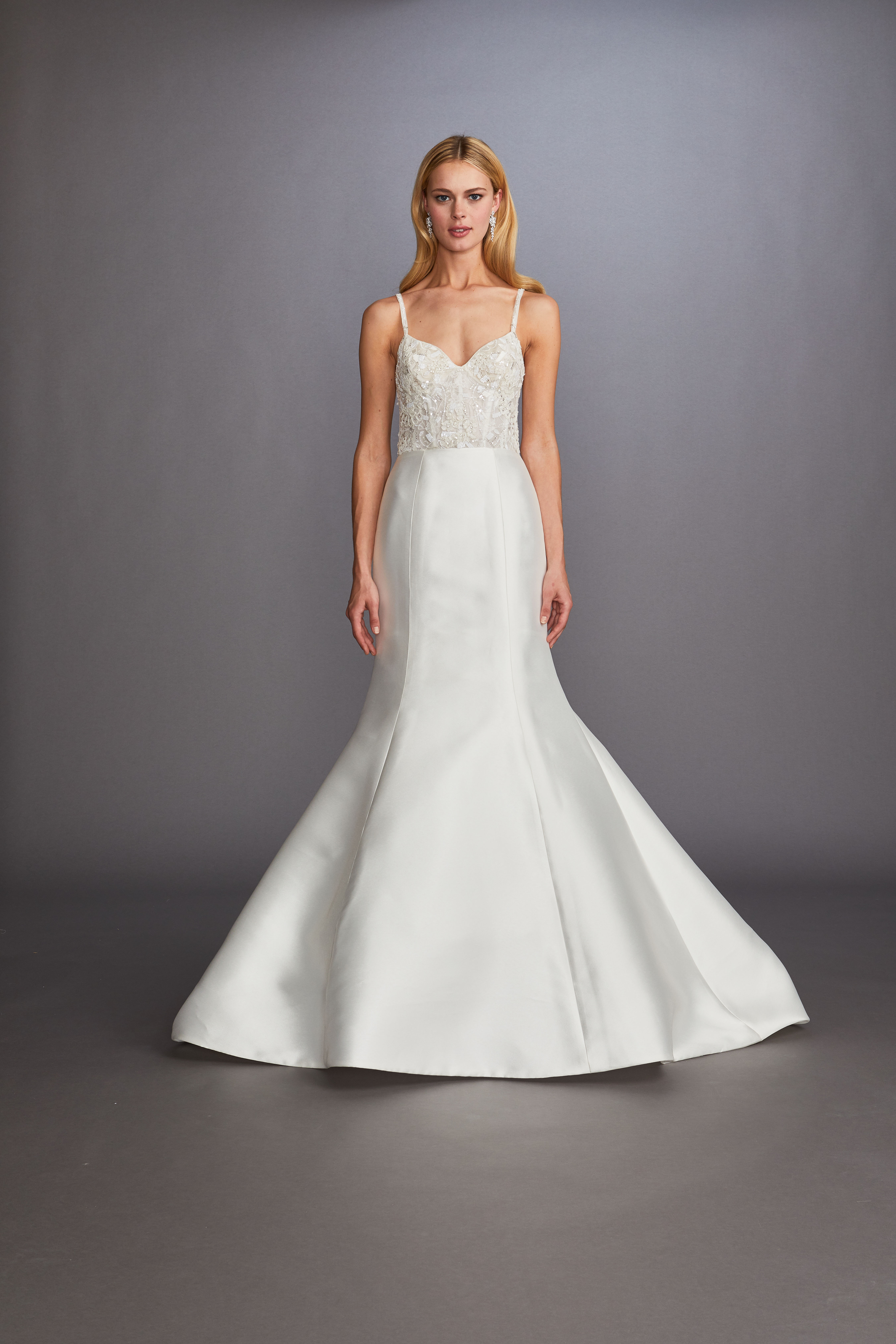 spaghetti strap sweetheart beaded trumpet wedding dress Allison Webb Spring 2020