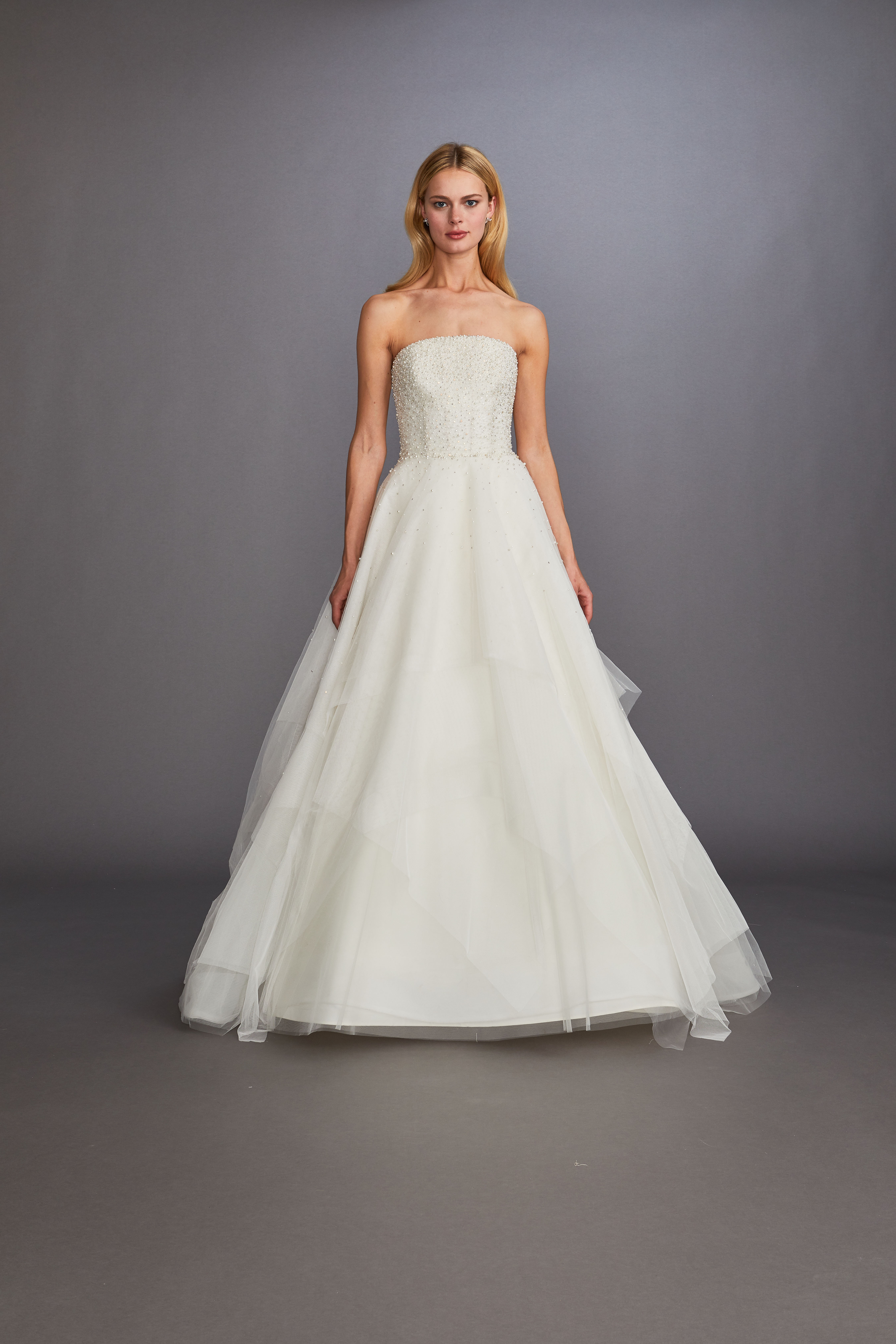 strapless straight across beaded glitter tulle skirt a-line wedding dress Allison Webb Spring 2020