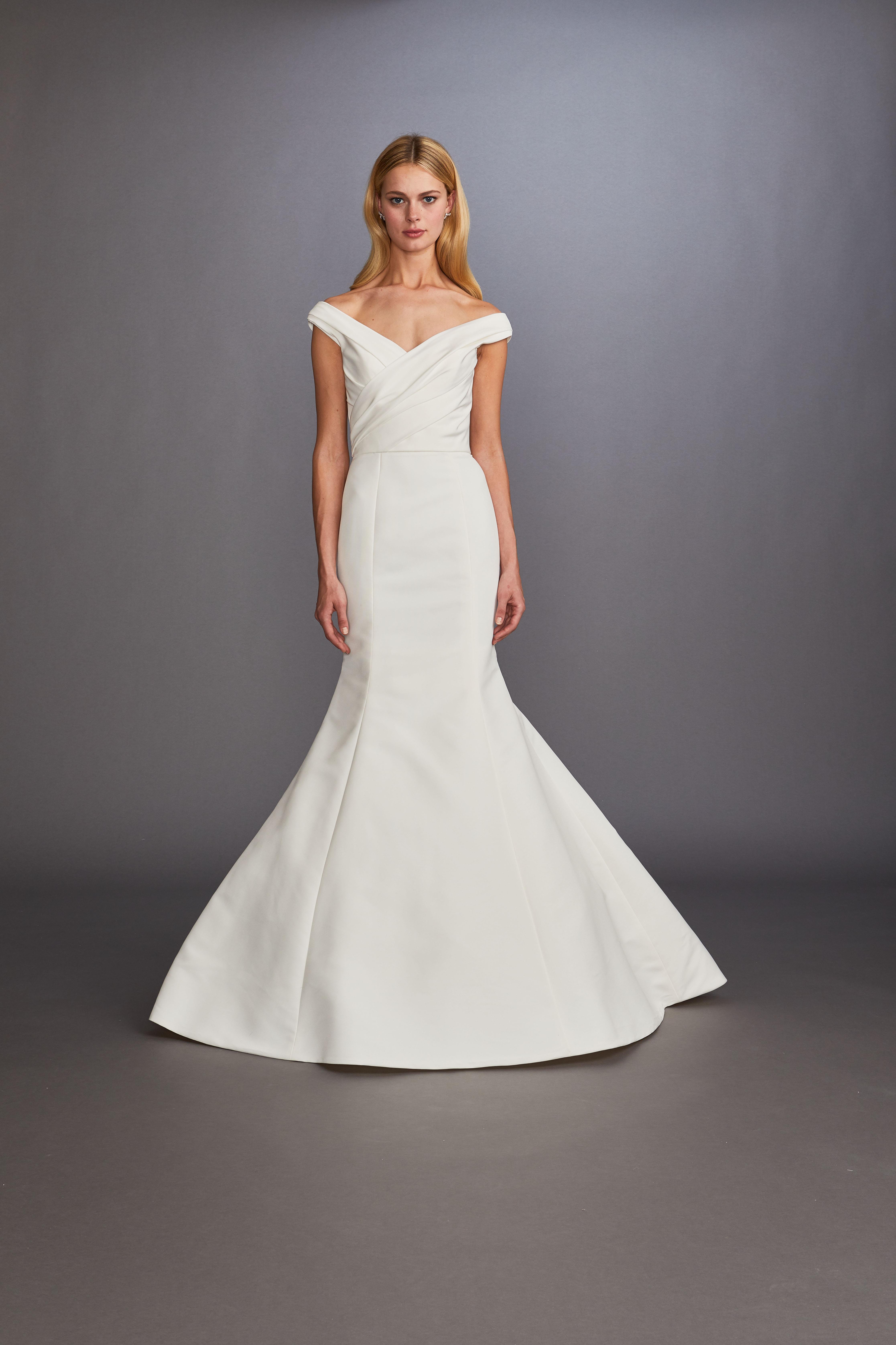 off-the-shoulder ruching trumpet wedding dress Allison Webb Spring 2020