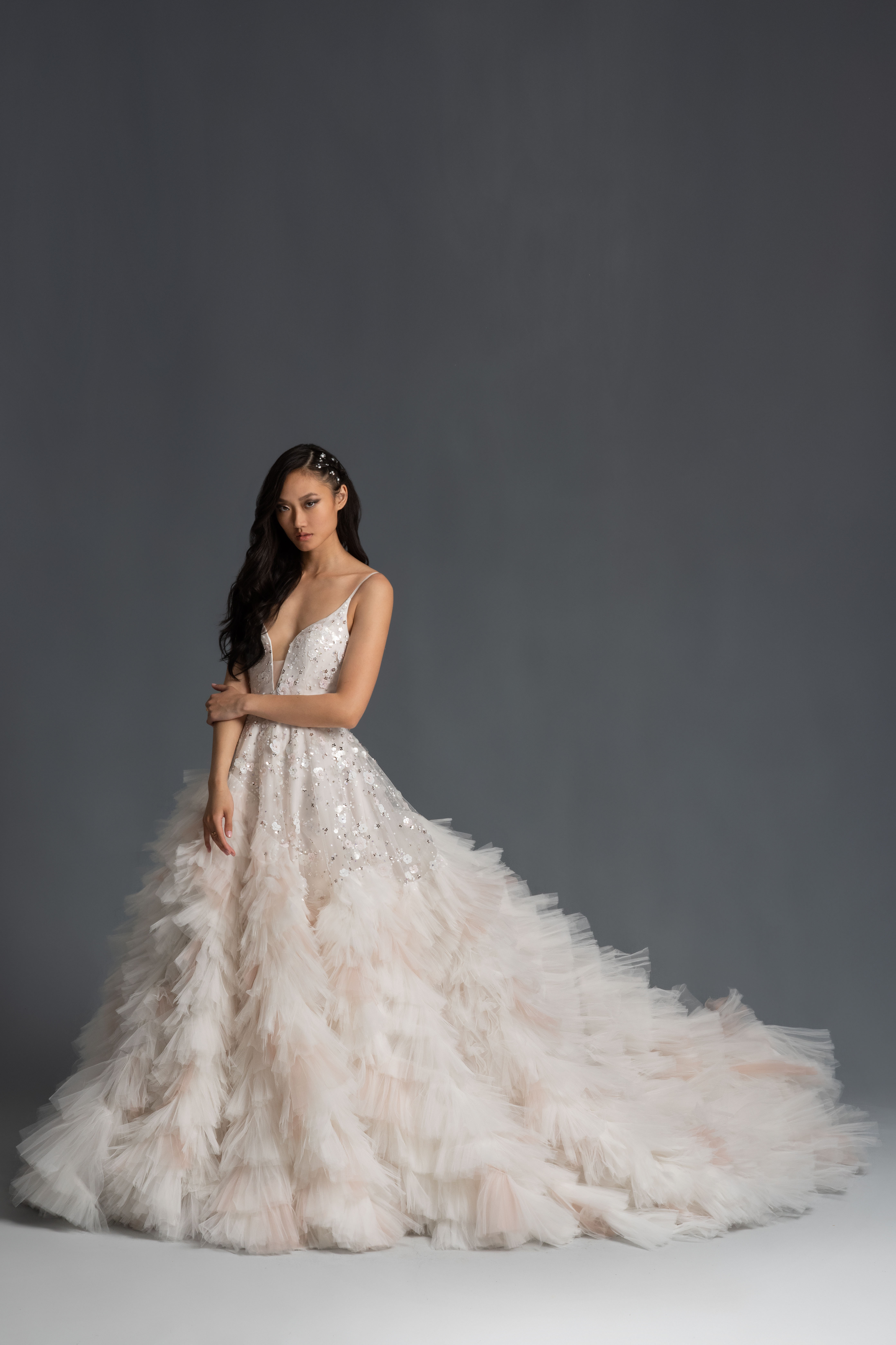 spaghetti strap plunging v-neck tiered ruffled tulle skirt beading a-line wedding dress Hayley Paige Spring 2020