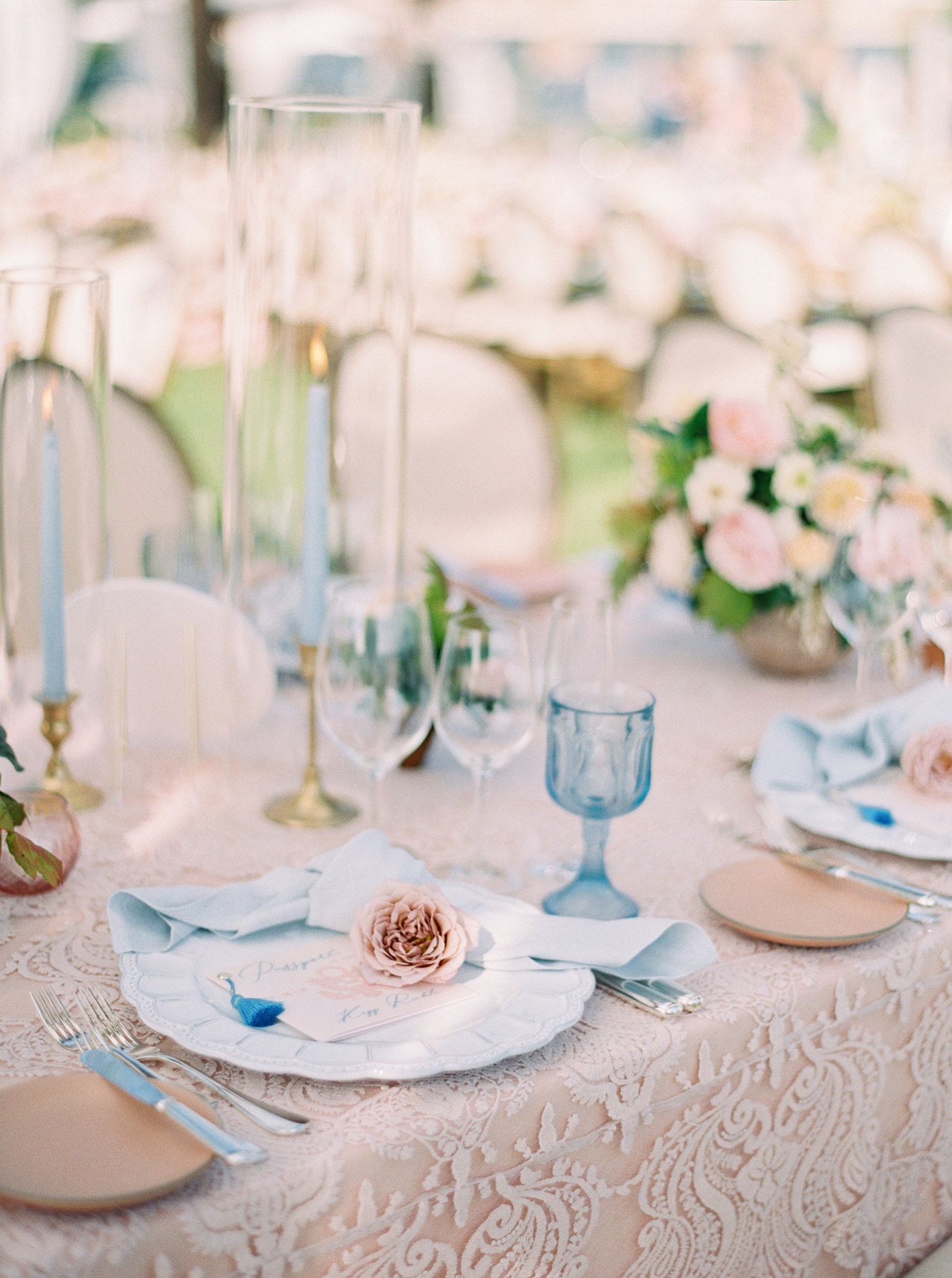 mykaela and brendon wedding blue and pink place setting