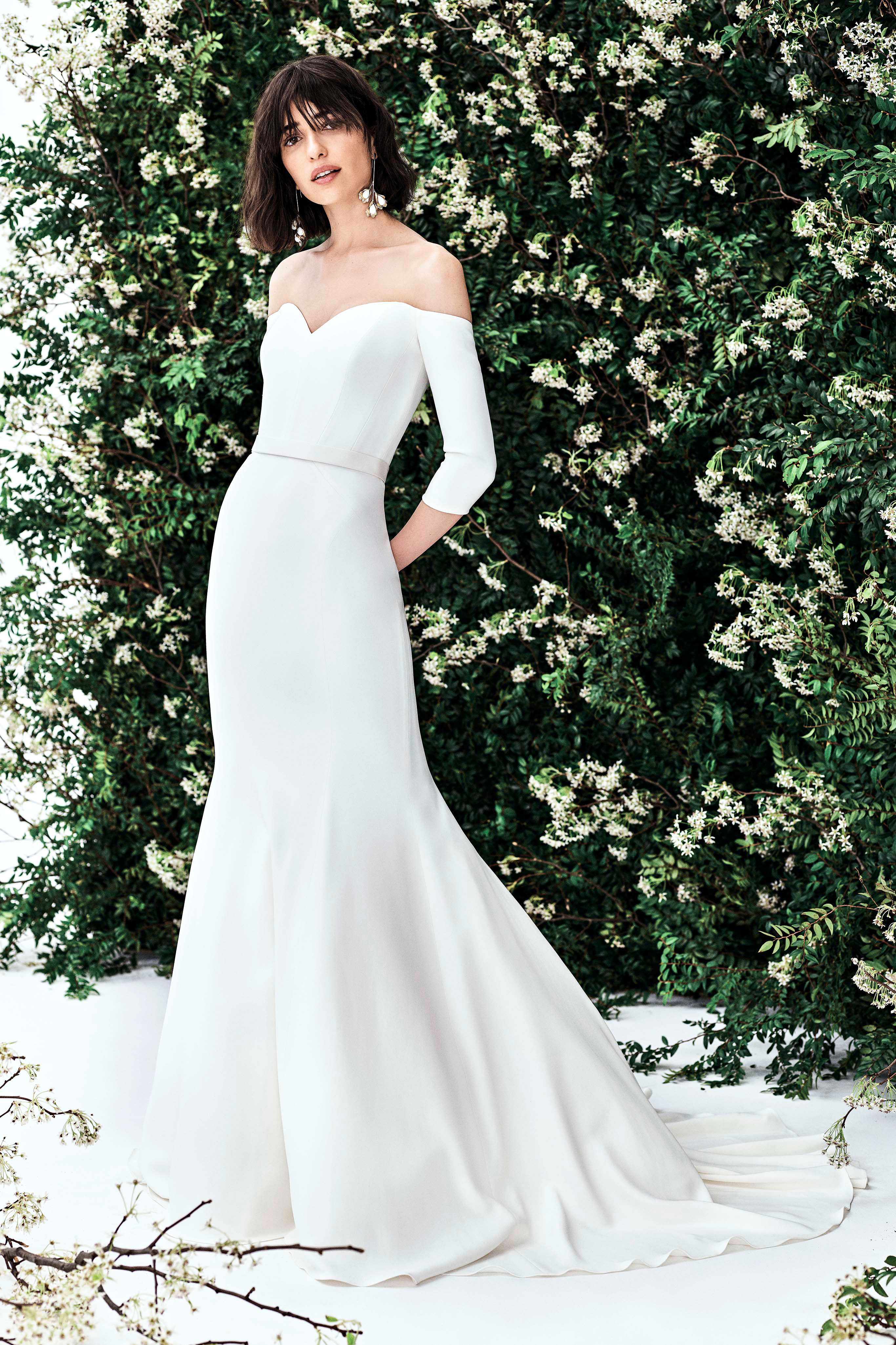 carolina herrera off the shoulder three quarter length sleeves trumpet wedding dress spring 2020
