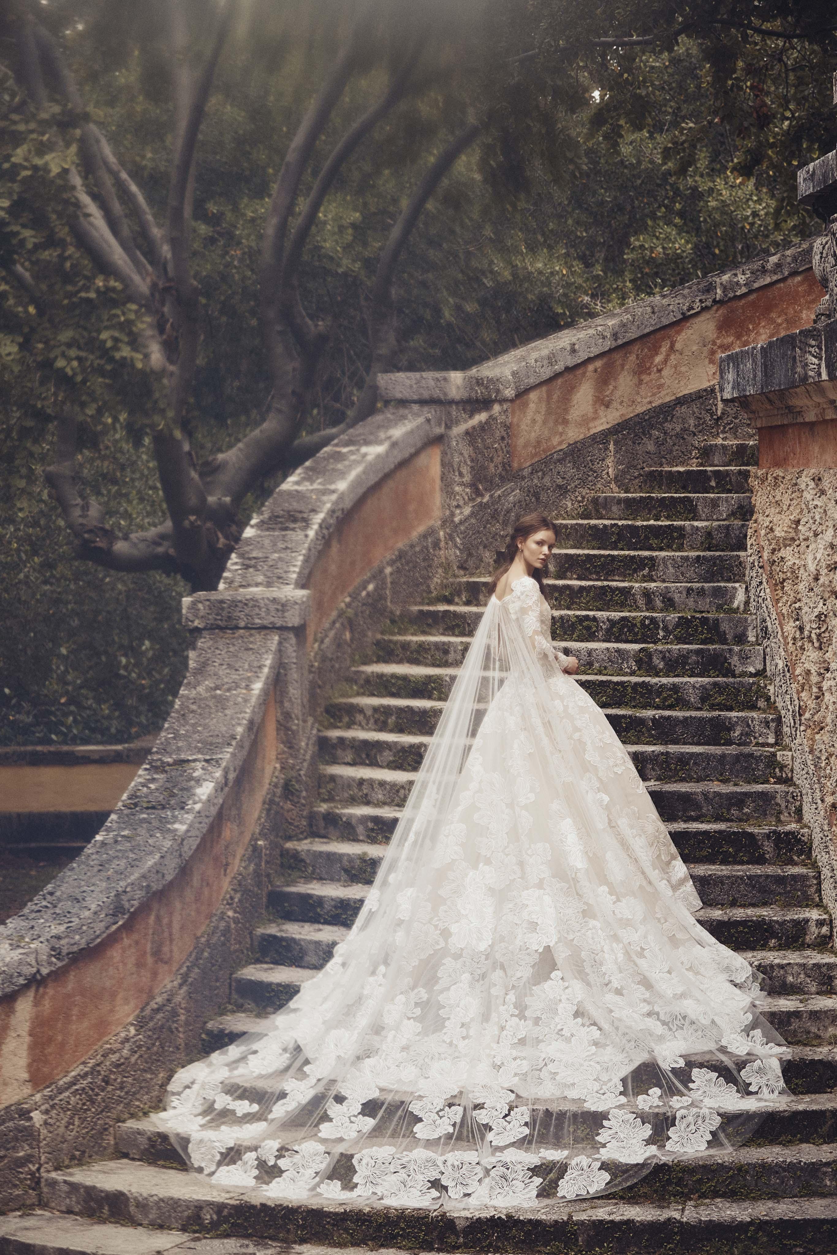 floral lace cape train ball gown Monique Lhuillier Spring 2020