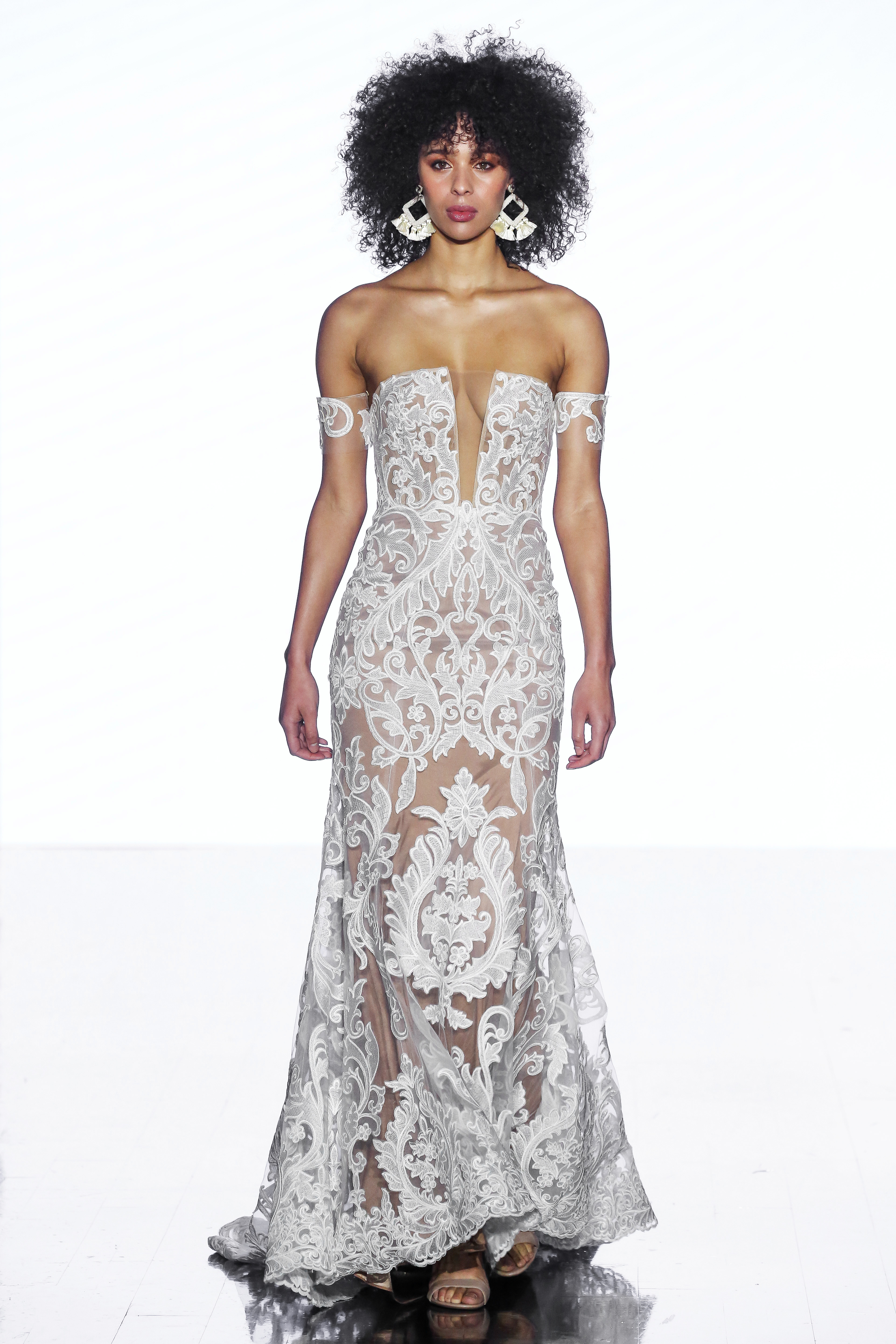 wtoo by watters off the shoulder lace trumpet wedding dress spring 2020
