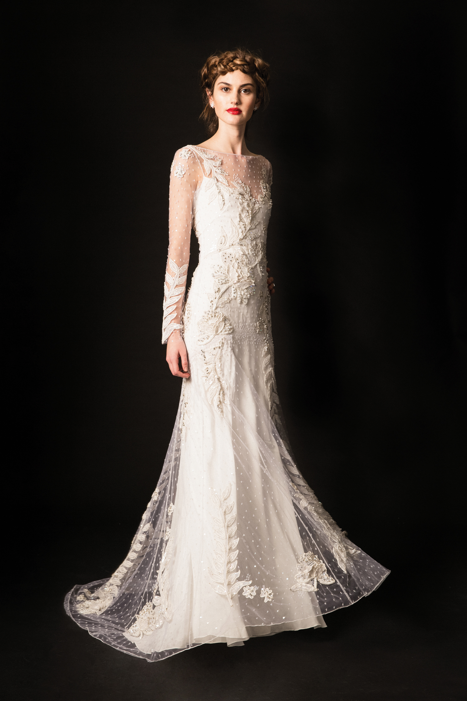 temperley lace illusion long sleeves sheath wedding dress spring 2020