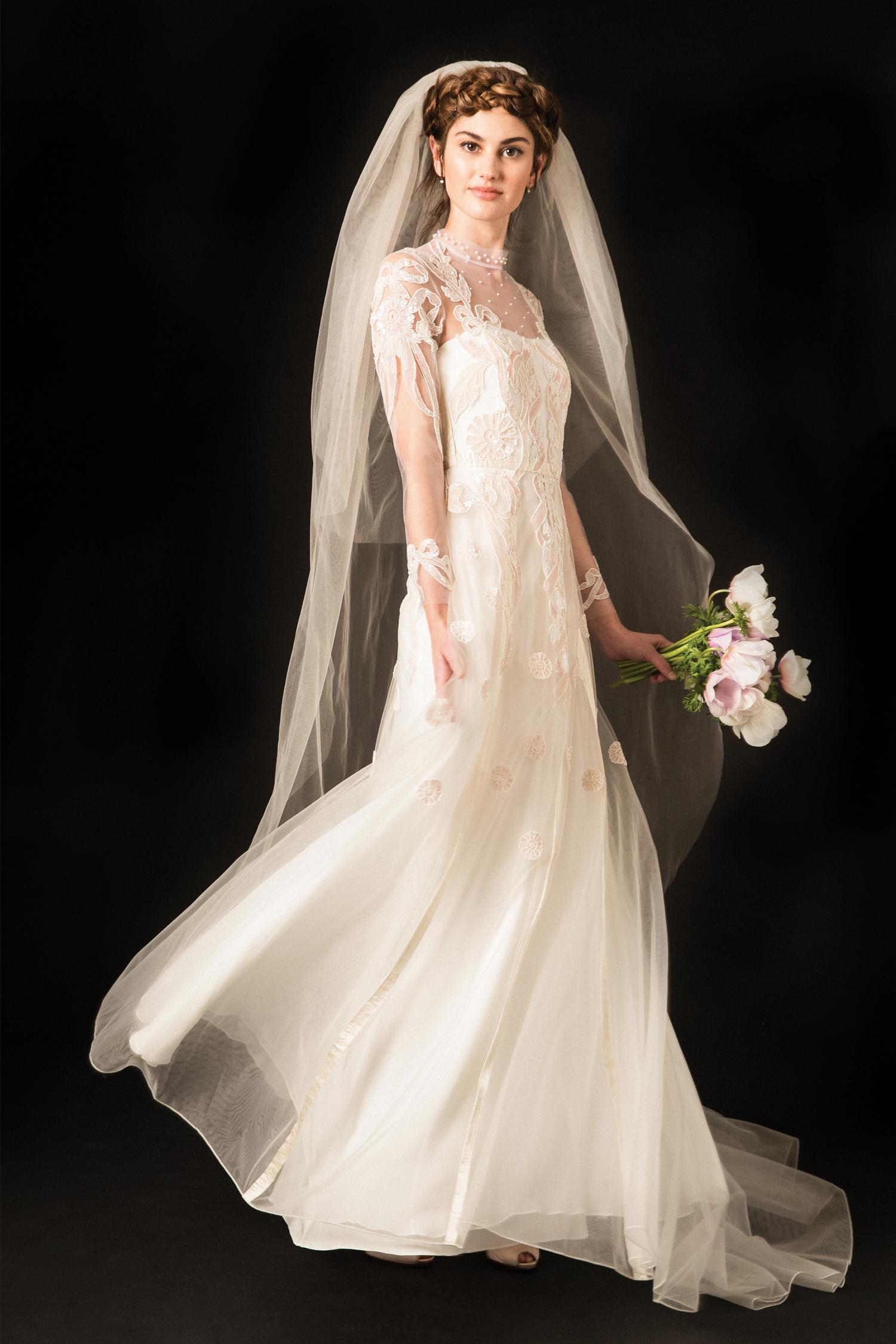 temperley lace high neckline long sleeve wedding dress spring 2020