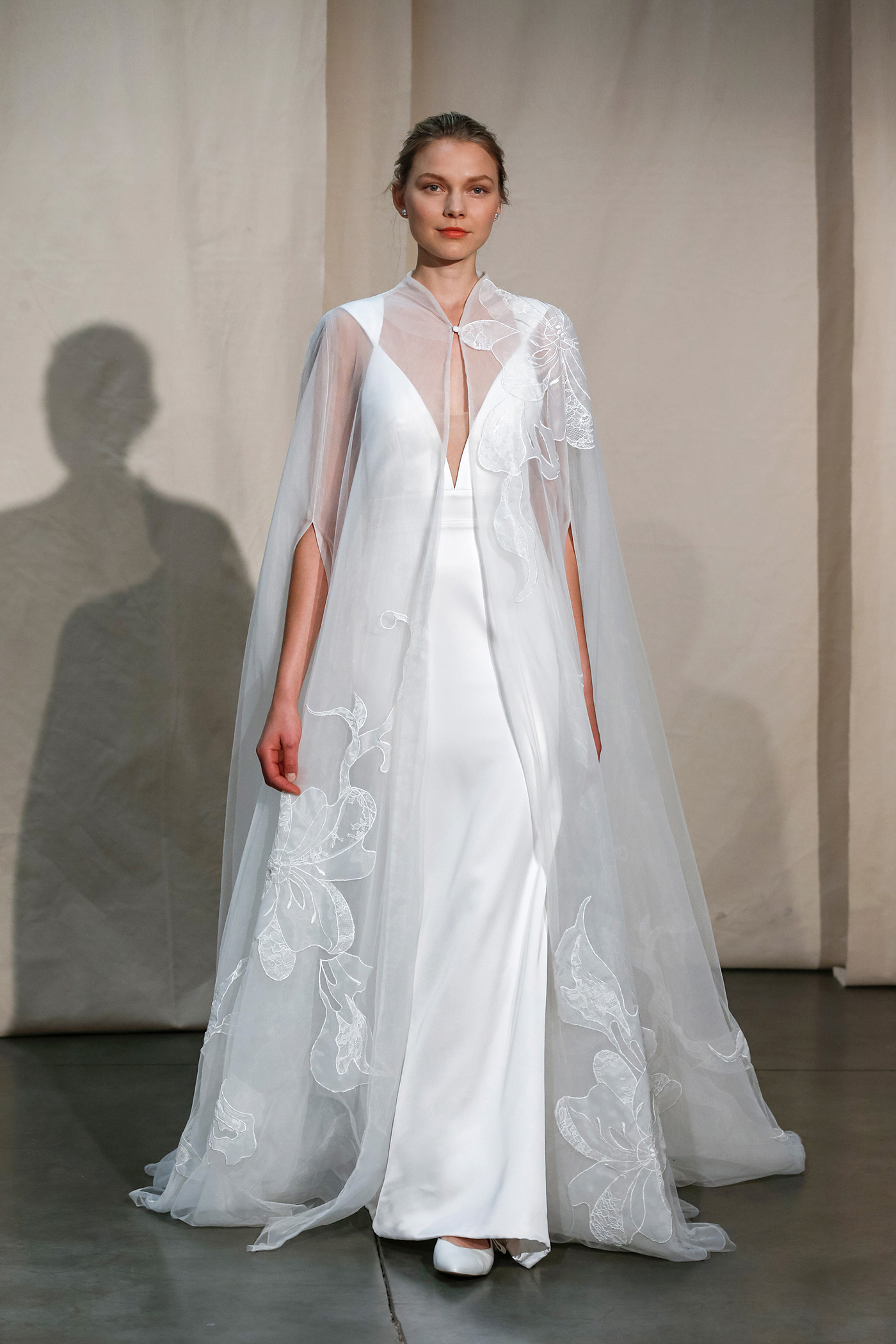 justin alexander sheer embroidered cape wedding dress spring 2020