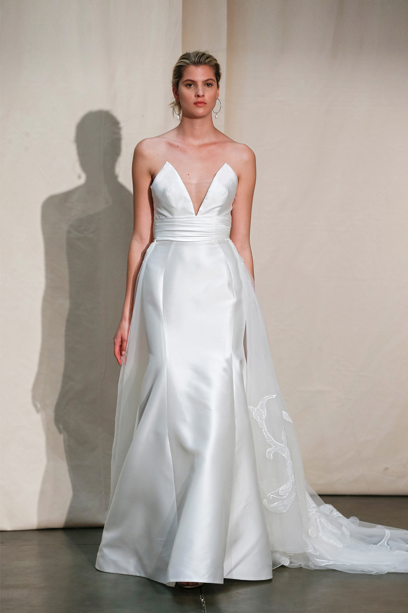 justin alexander plunging neck skirt overlay wedding dress spring 2020
