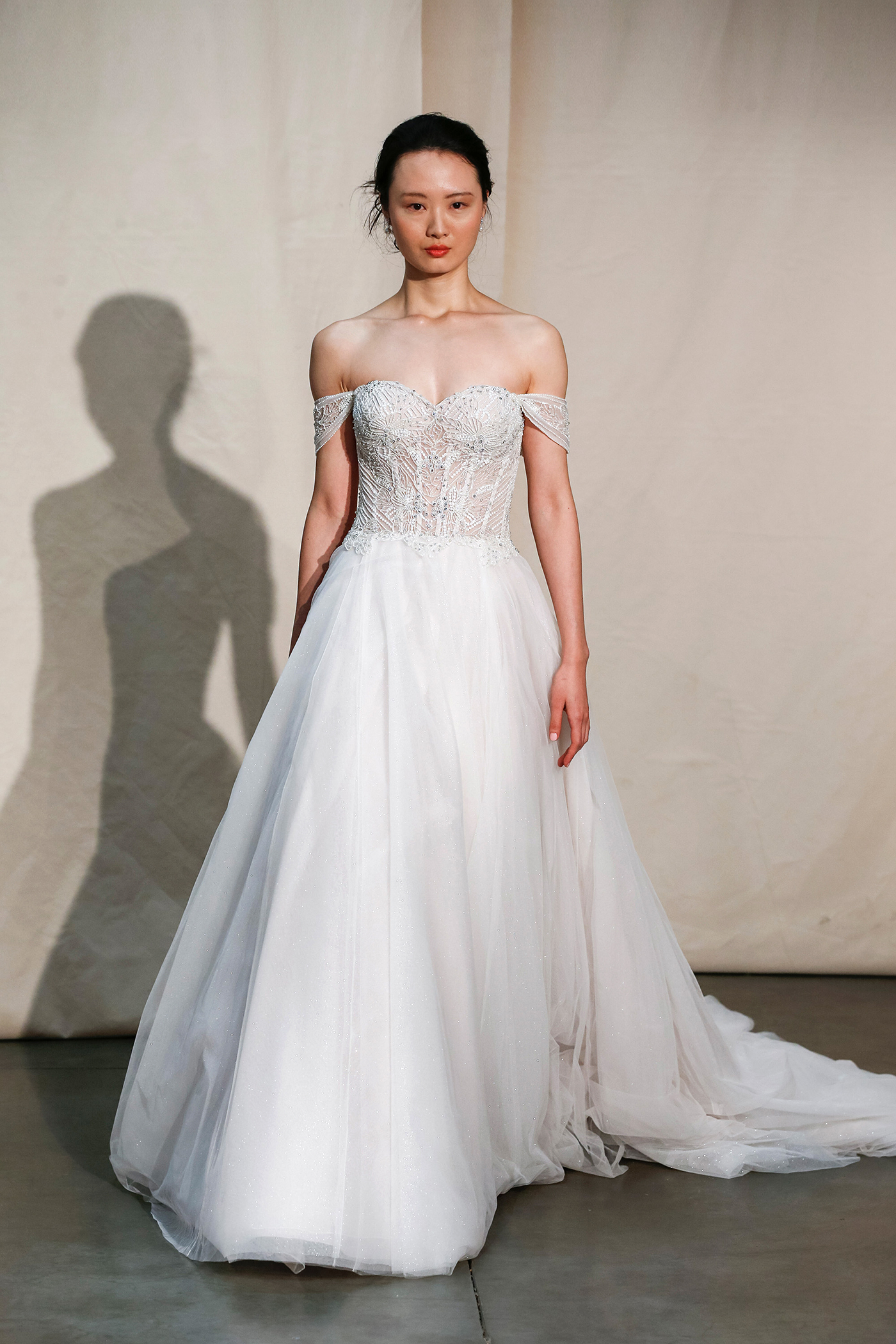 justin alexander off-the-shoulder exposed boning wedding dress spring 2020