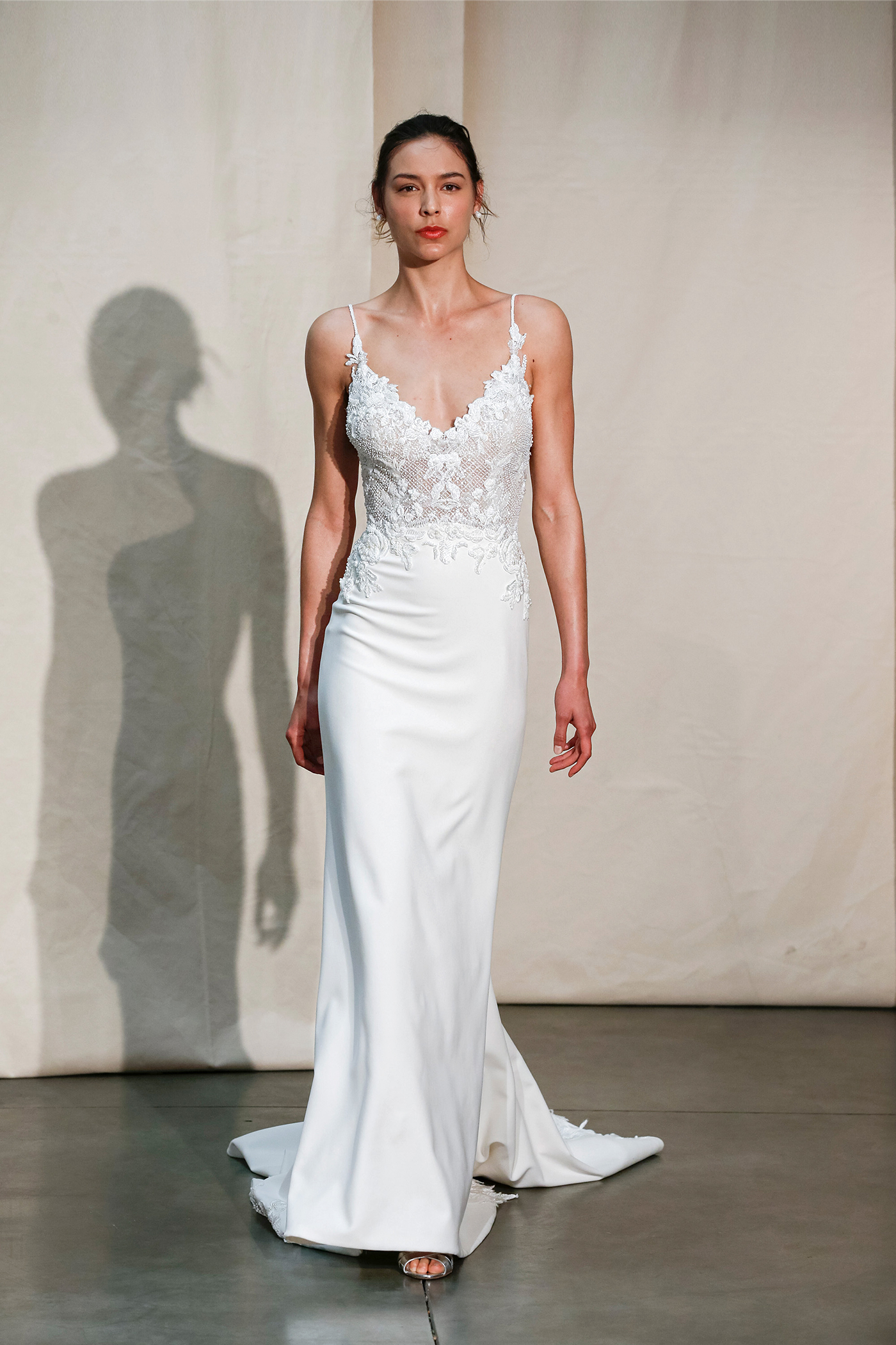 justin alexander spaghetti-strap sheath wedding dress spring 2020