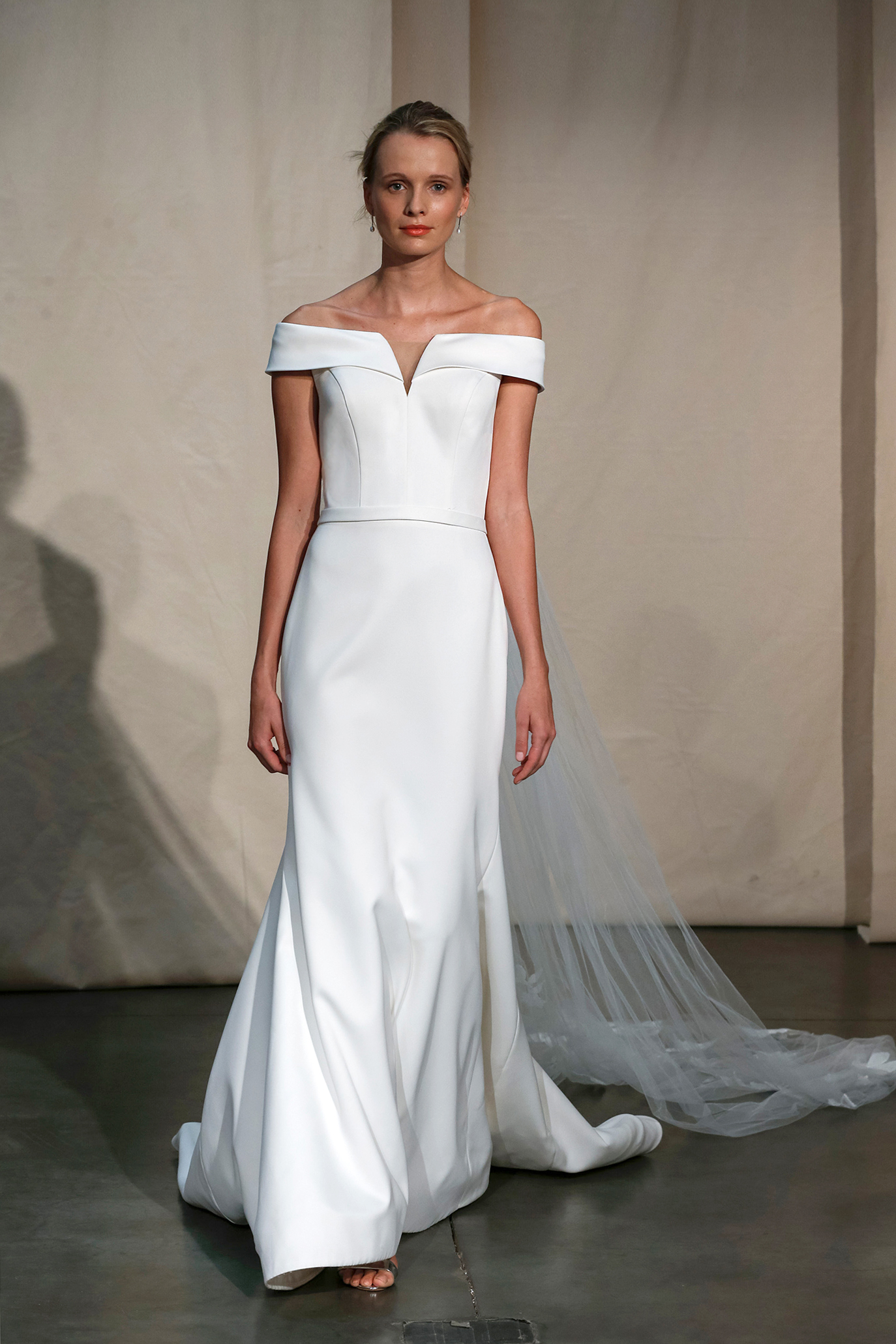 justin alexander off-the-shoulder trumpet wedding dress spring 2020