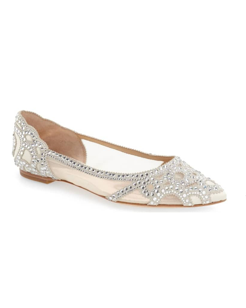 "Badgley Mischka ""Gigi"" Crystal Pointy Toe Flats"