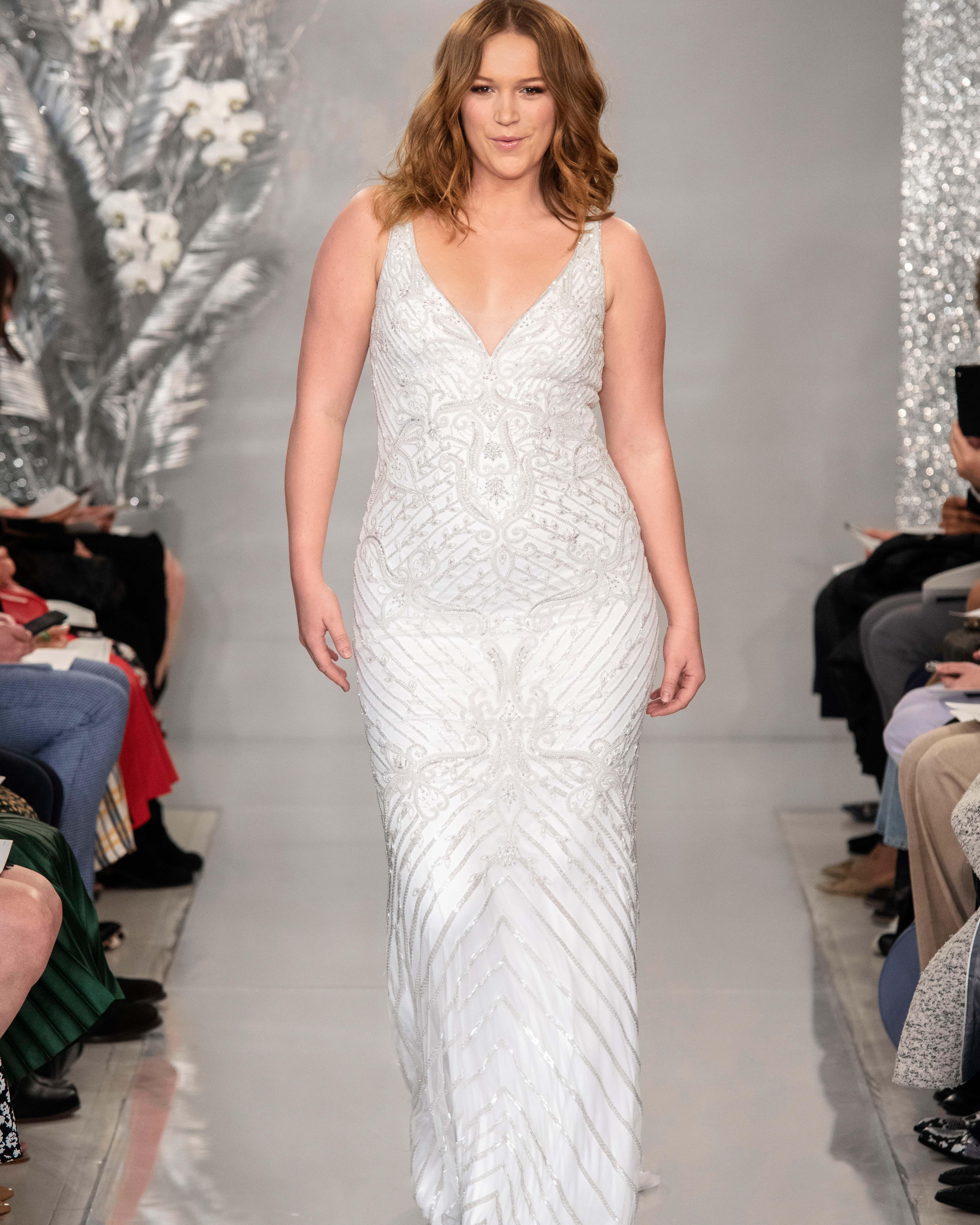 THEIA v-neck beaded wedding dress Spring 2020