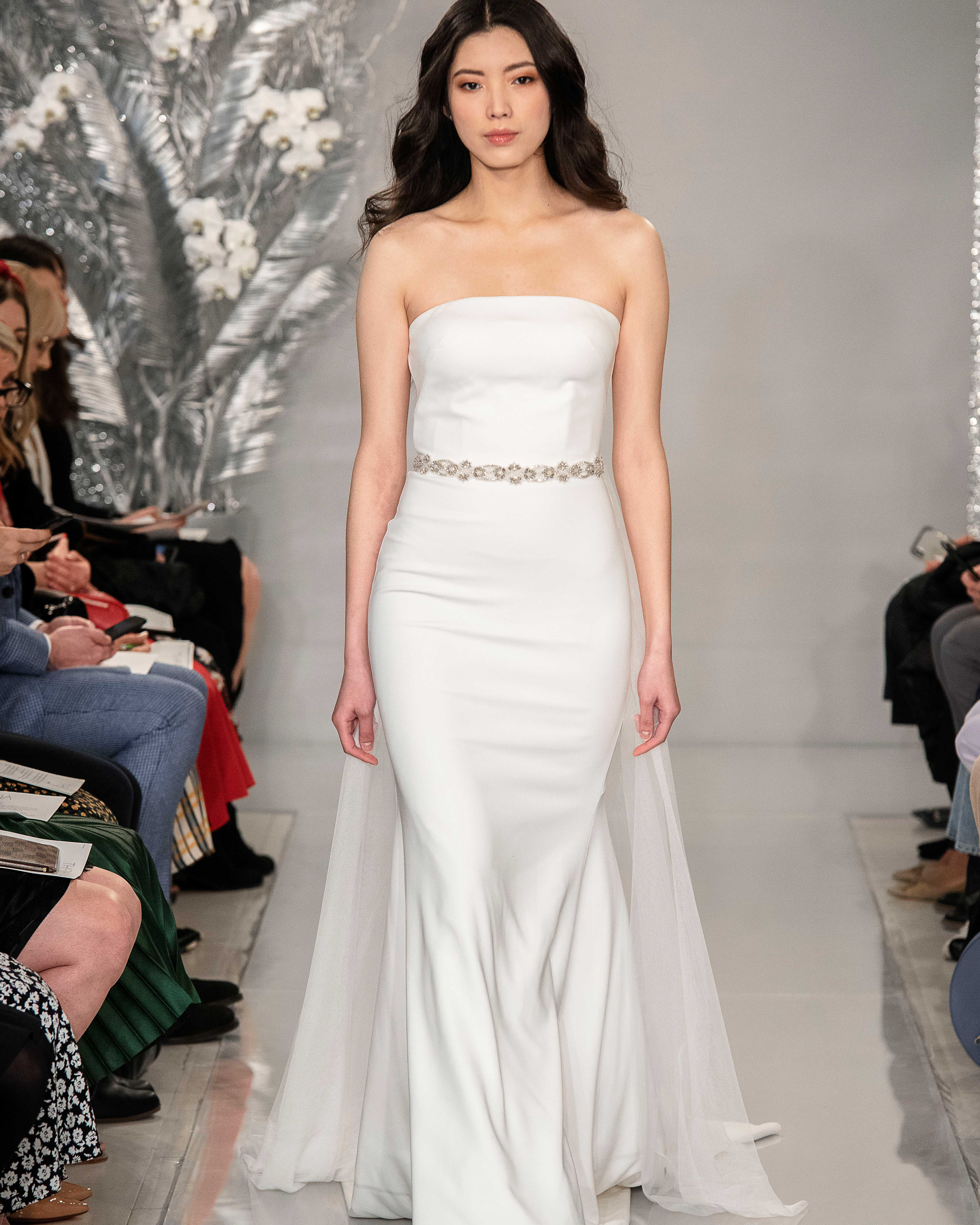 THEIA strapless tulle train wedding dress Spring 2020