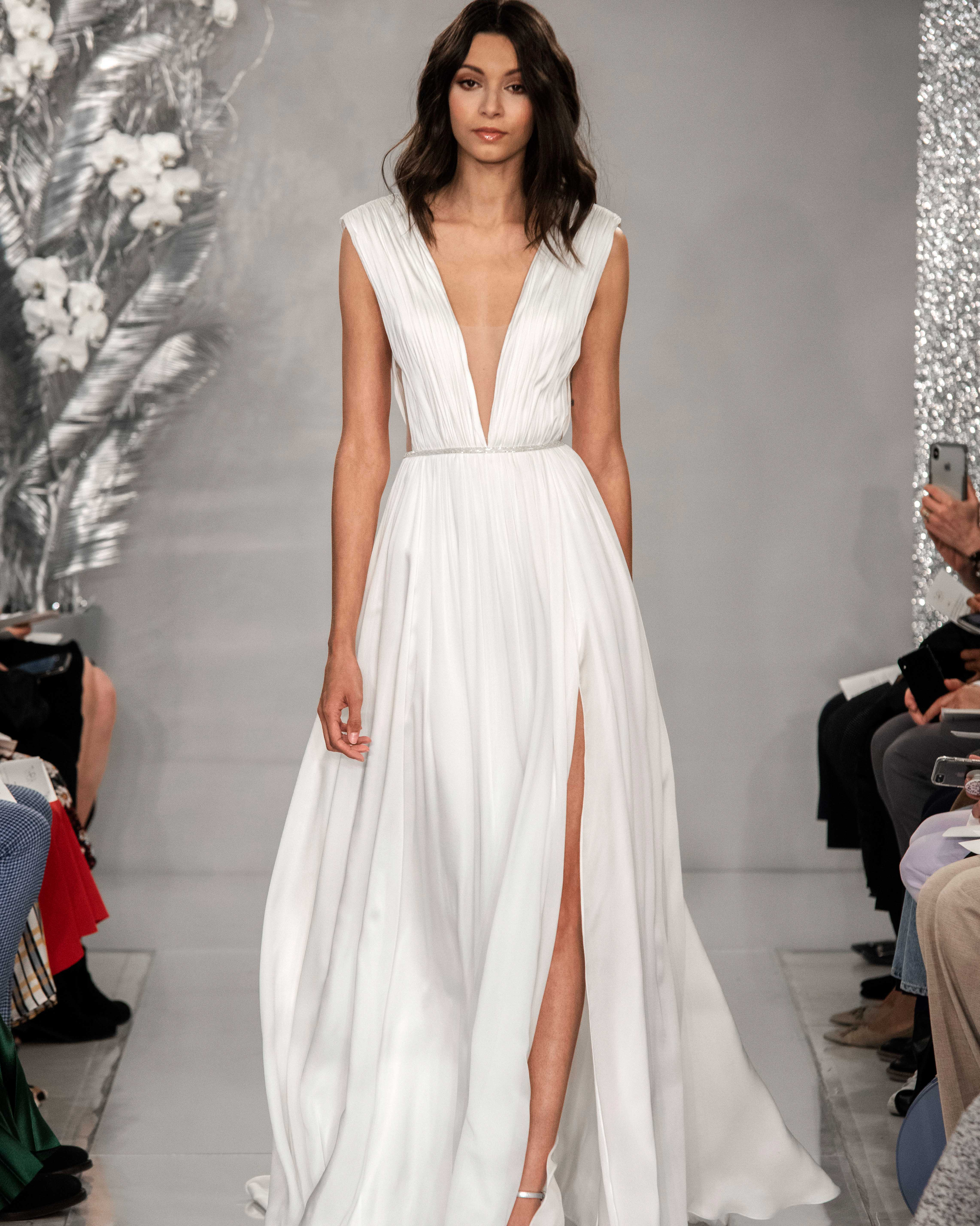 THEIA satin side slit wedding dress Spring 2020