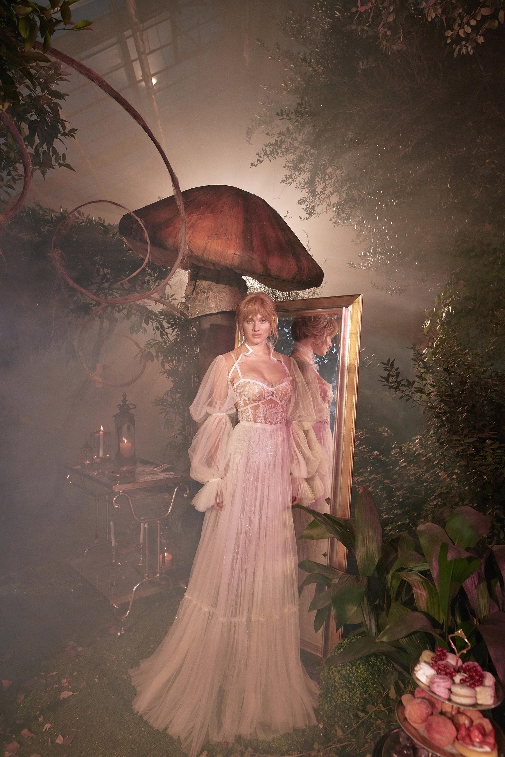 long puffed sleeves sweetheart exposed boning tulle a-line wedding dress Gala by Galia Lahav Spring 2020