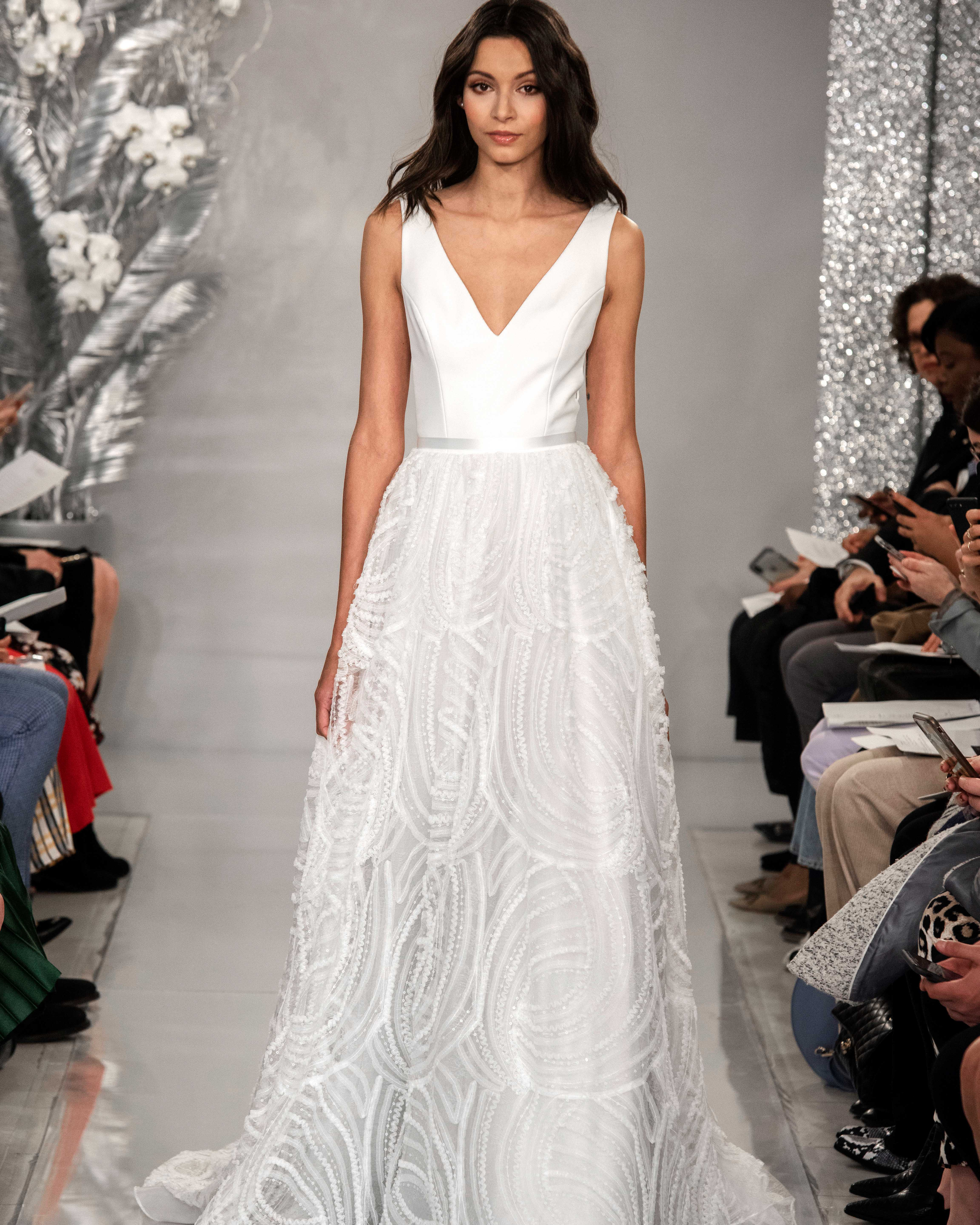 THEIA v-neck tulle wedding dress Spring 2020