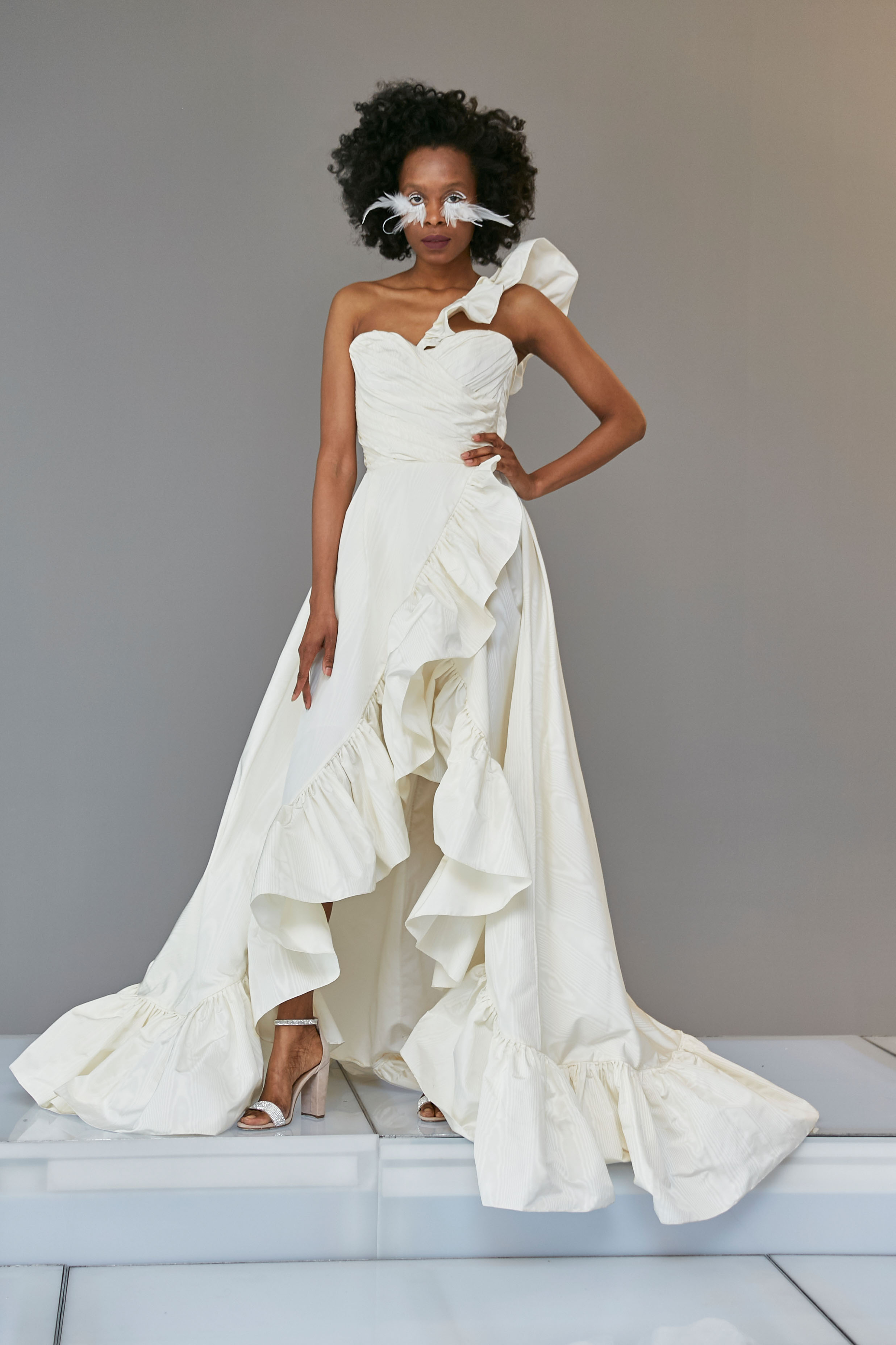 one shoulder high-low sweetheart a-line wedding dress Francesca Miranda Spring 2020