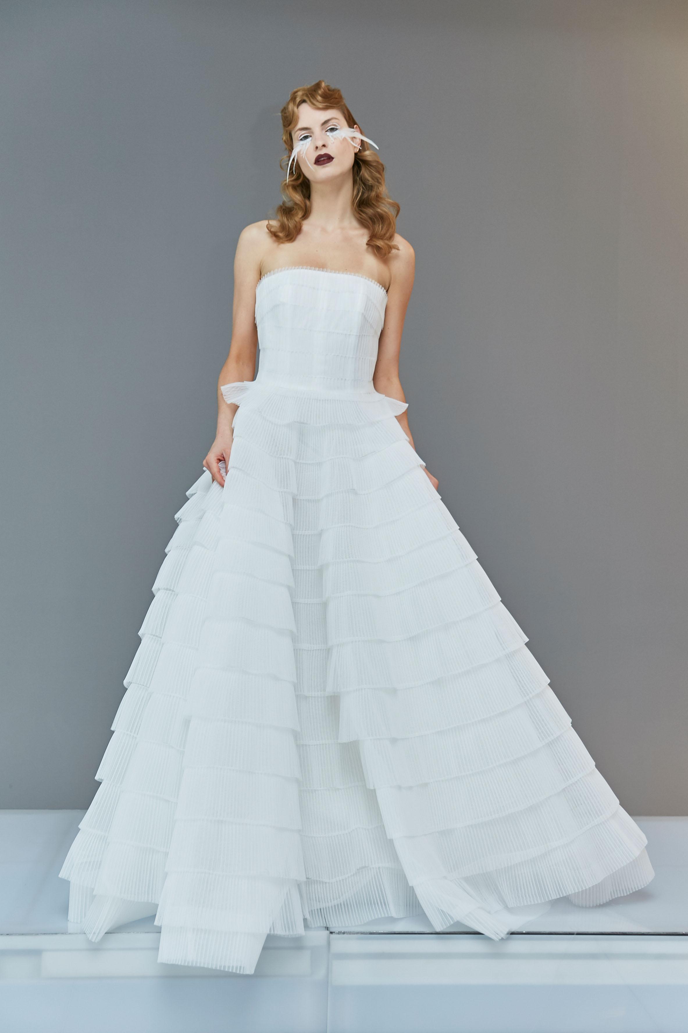 strapless straight across tiered tulle exposed boning a-line wedding dress Francesca Miranda Spring 2020