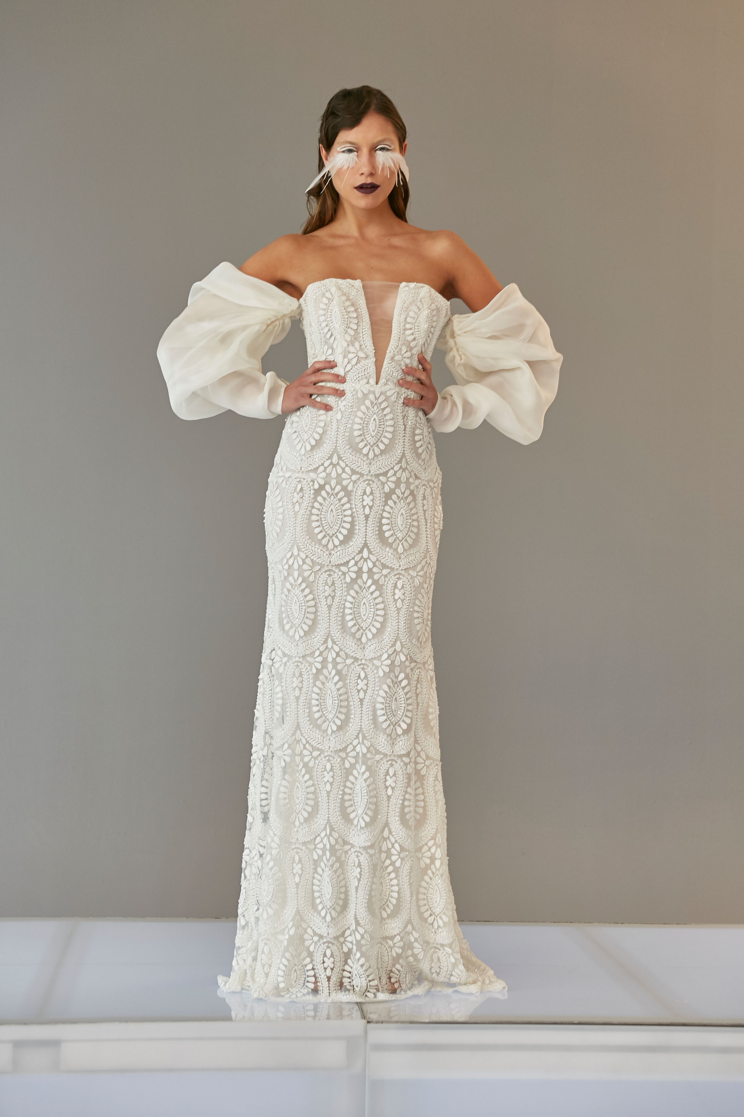 off the shoulder long puffed sleeves illusion deep v-neck embroidered lace sheath wedding dress Francesca Miranda Spring 2020