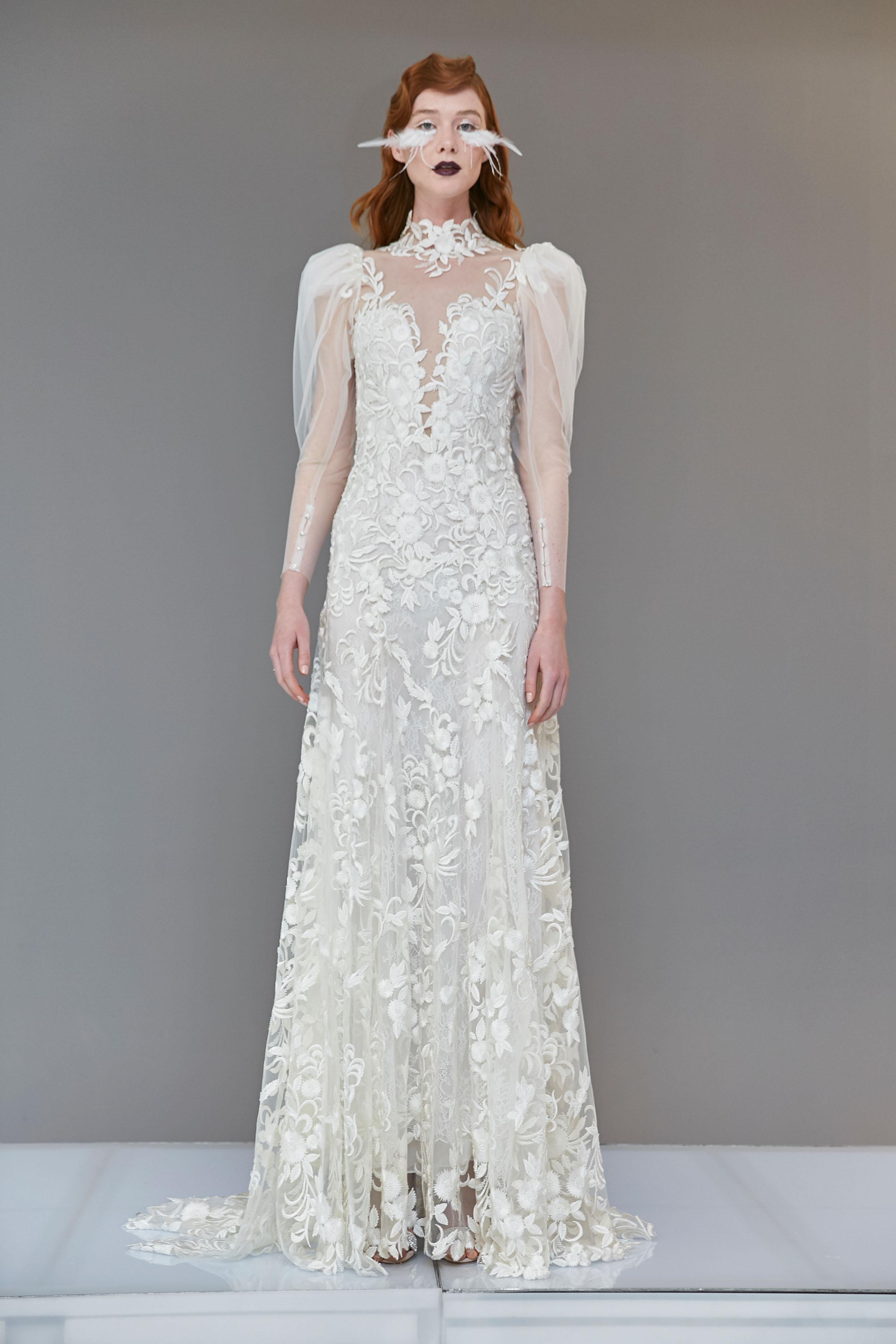 lace sheer high neck puffed long sleeves a-line wedding dress Francesca Miranda Spring 2020