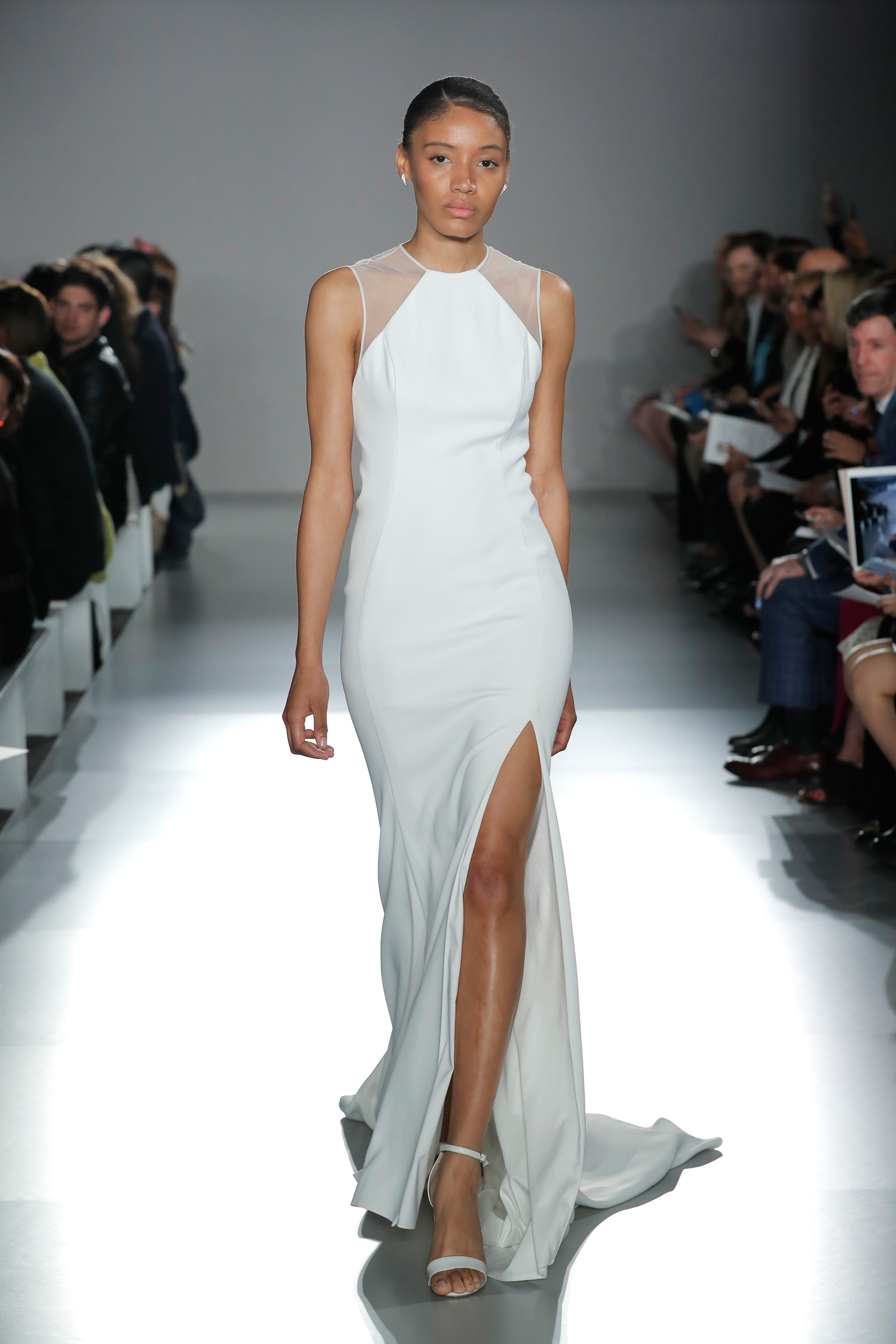 nouvelle amsale sleeveless illusion jewel neckline wedding dress with slit spring 2020