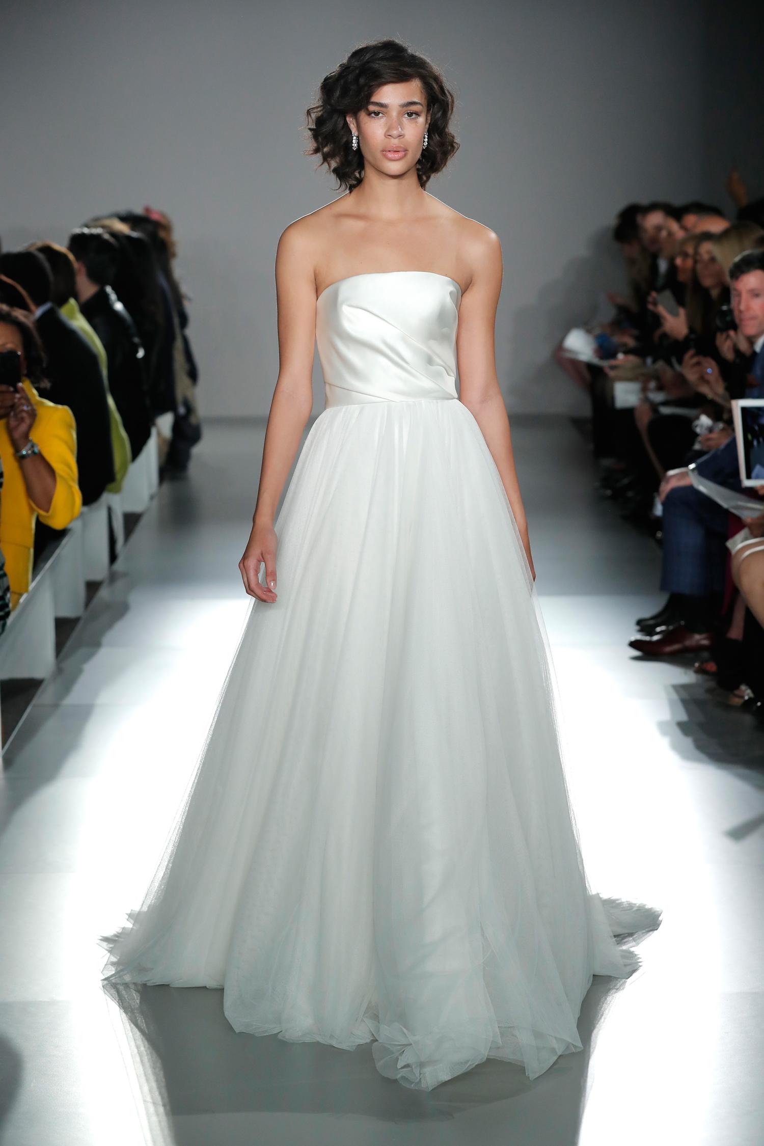 nouvelle amsale long strapless a-line tulle wedding dress spring 2020