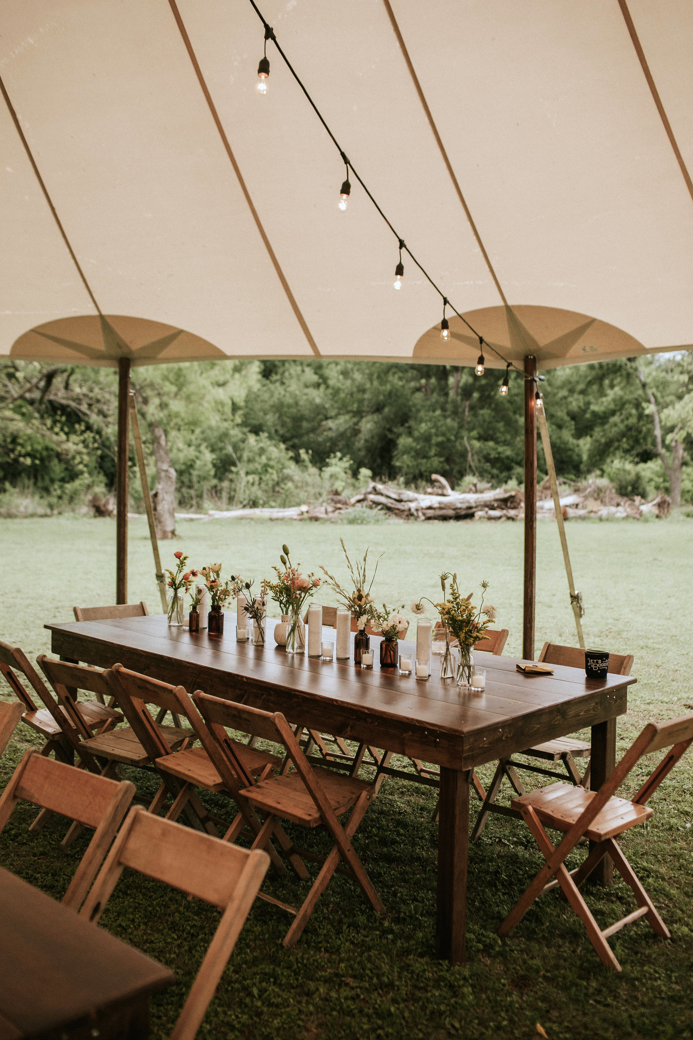 shannon jason wedding reception tent and tables
