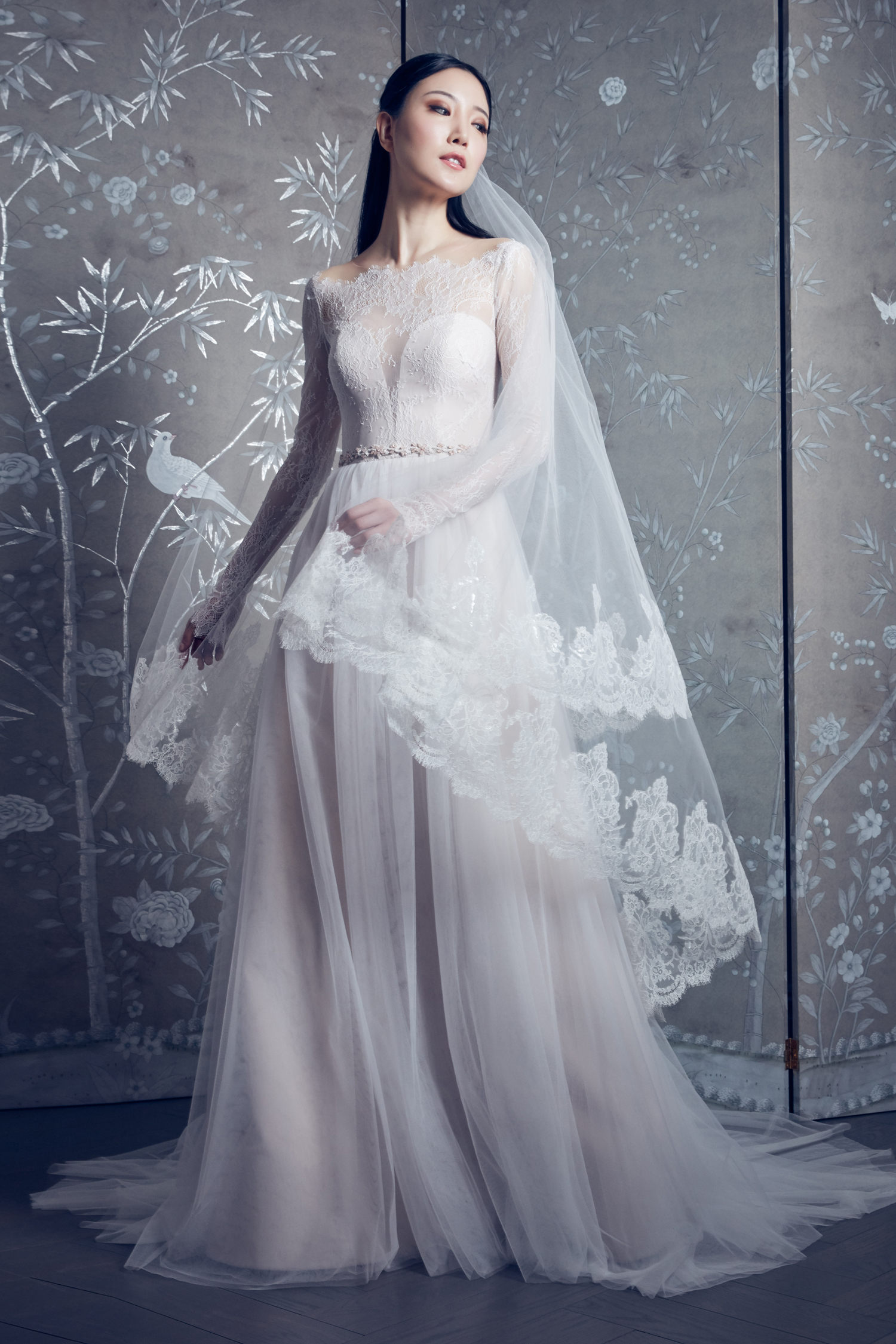 legends romona keveza long sleeve illusion boatneck a-line wedding dress spring 2020