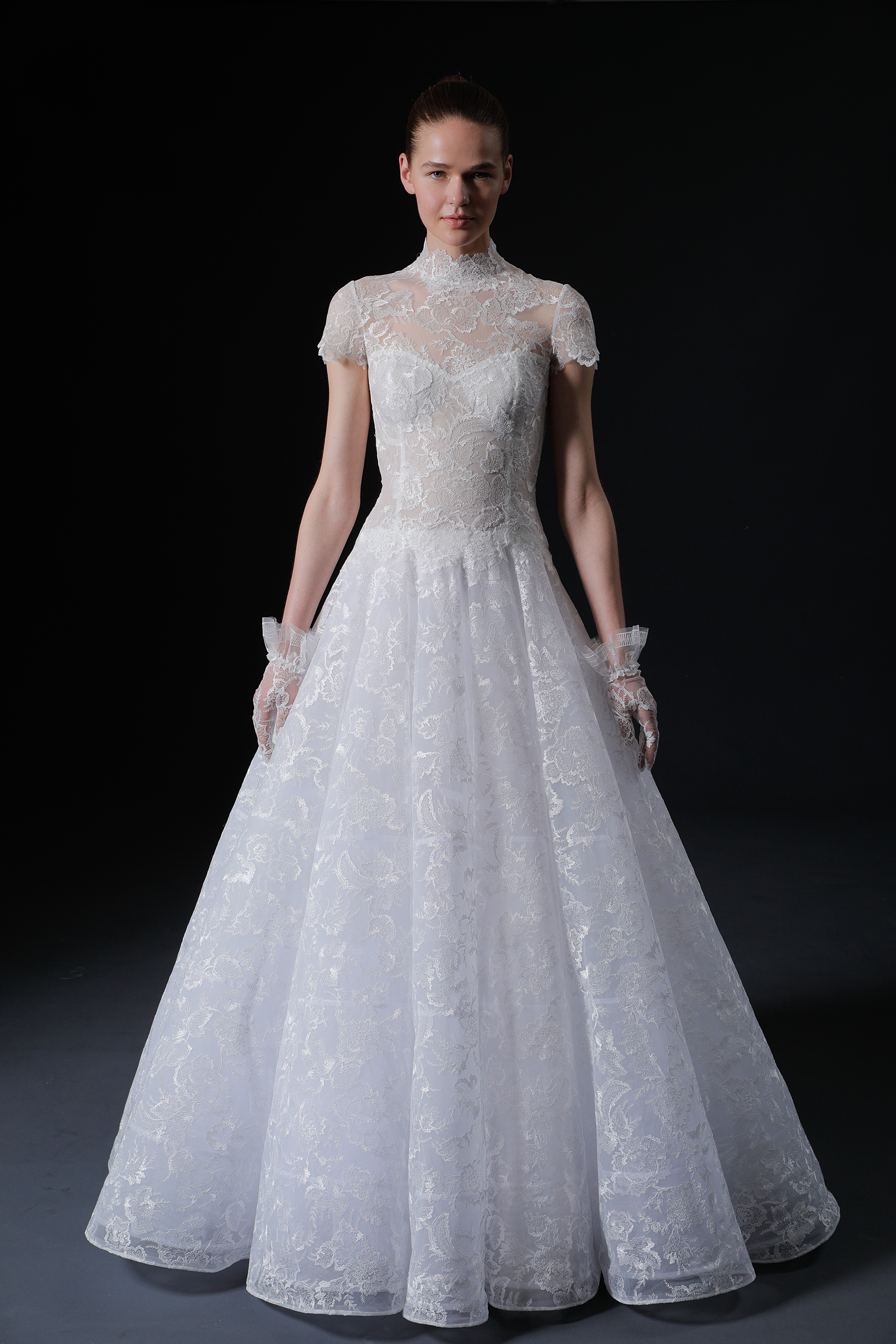 lace high-neck cap sleeves exposed boning a-line wedding dress Isabelle Armstrong Spring 2020