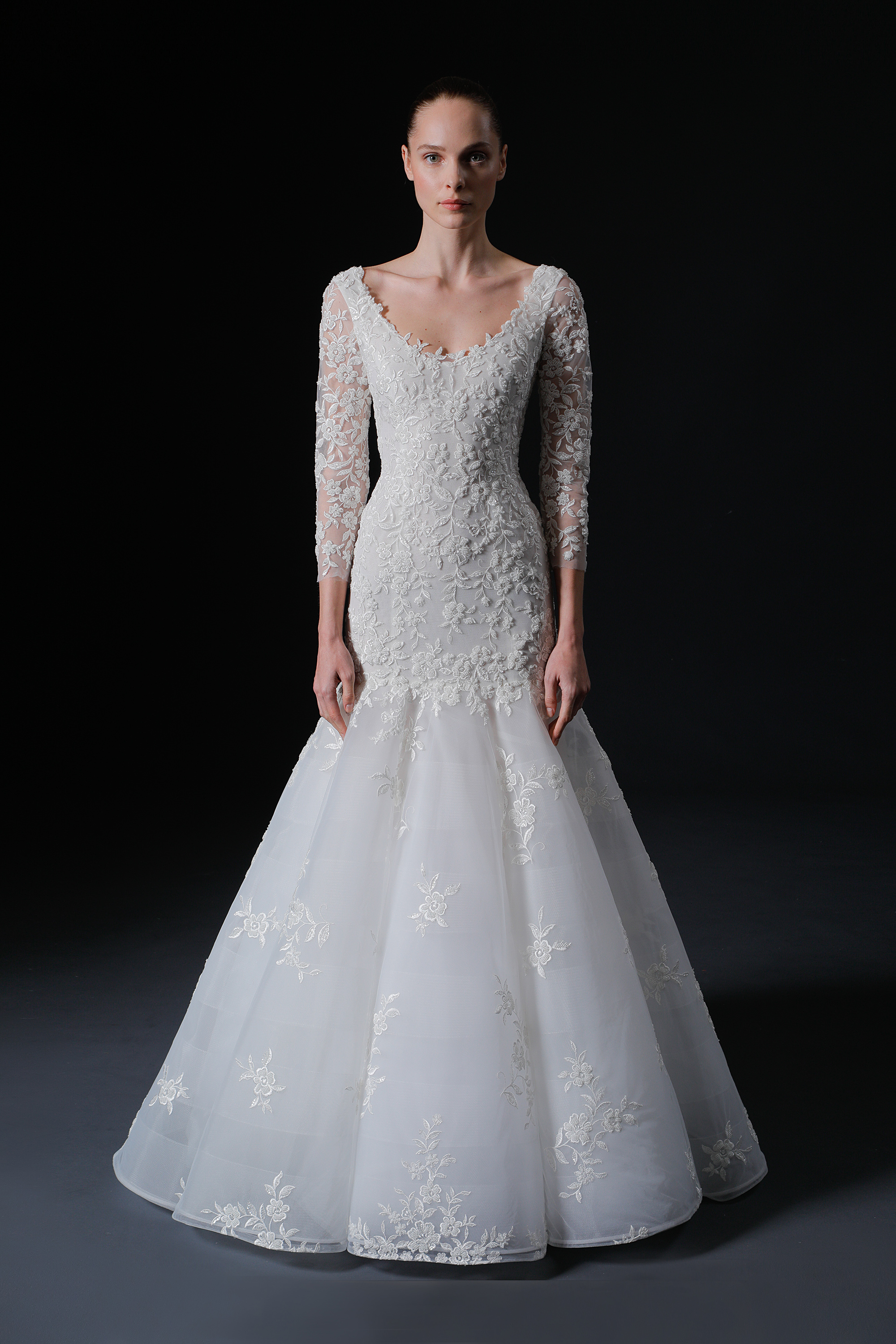 scoop neck three quarter sleeve lace trumpet wedding dress Isabelle Armstrong Spring 2020