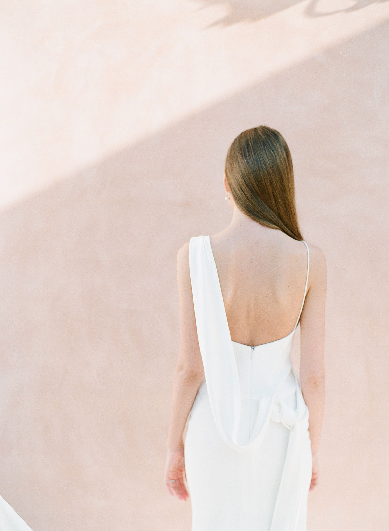 silk Grecian style wedding gown