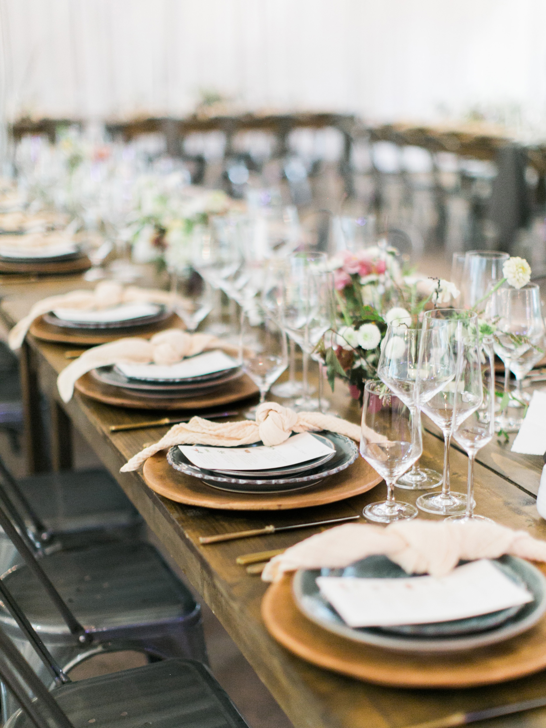 rustic decor reception table settings