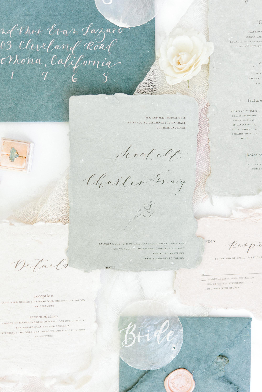 wedding invitation negative space poppy illustration calligraphy