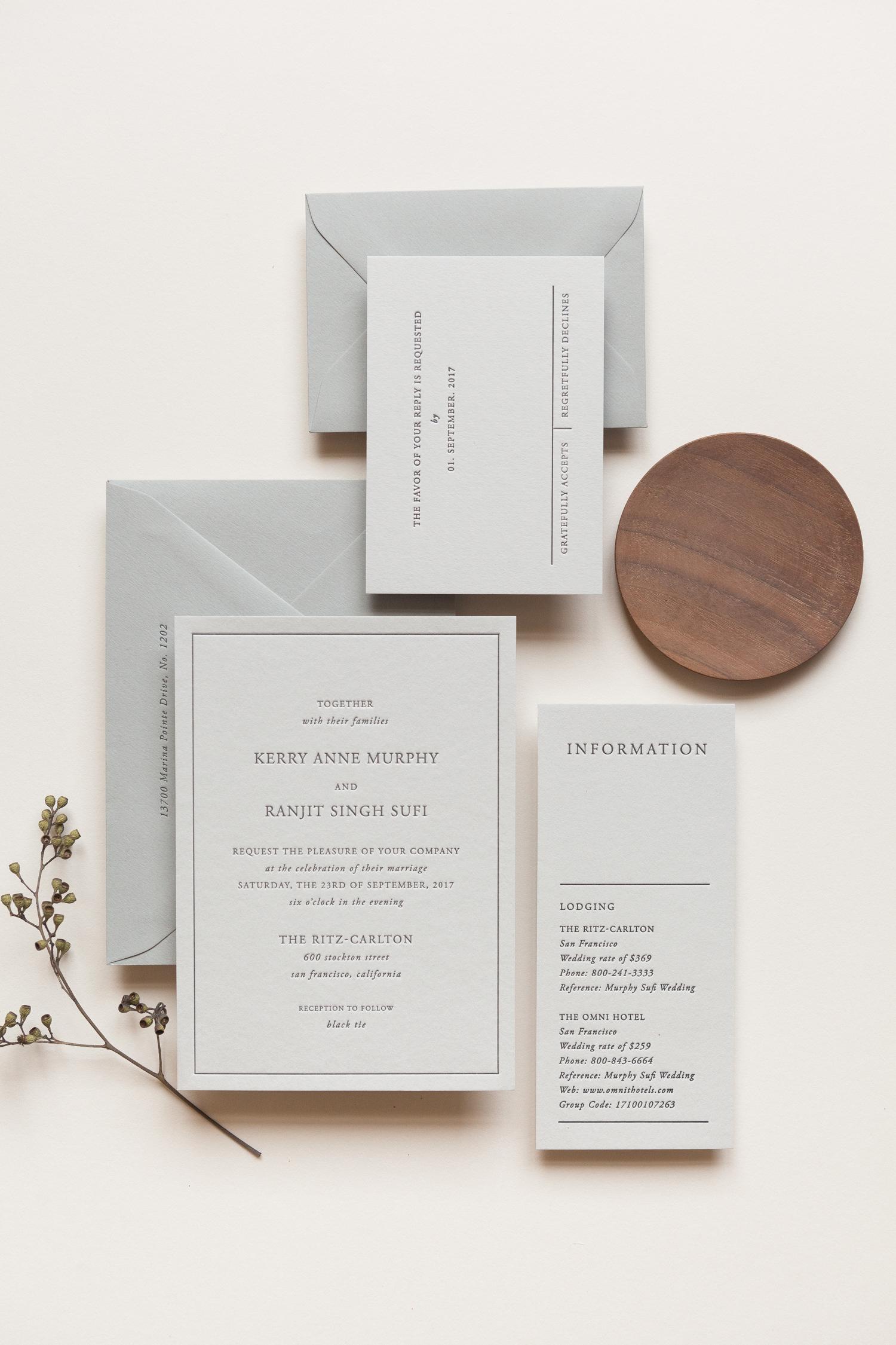 wedding invitation negative space letterpress serif type bold lines