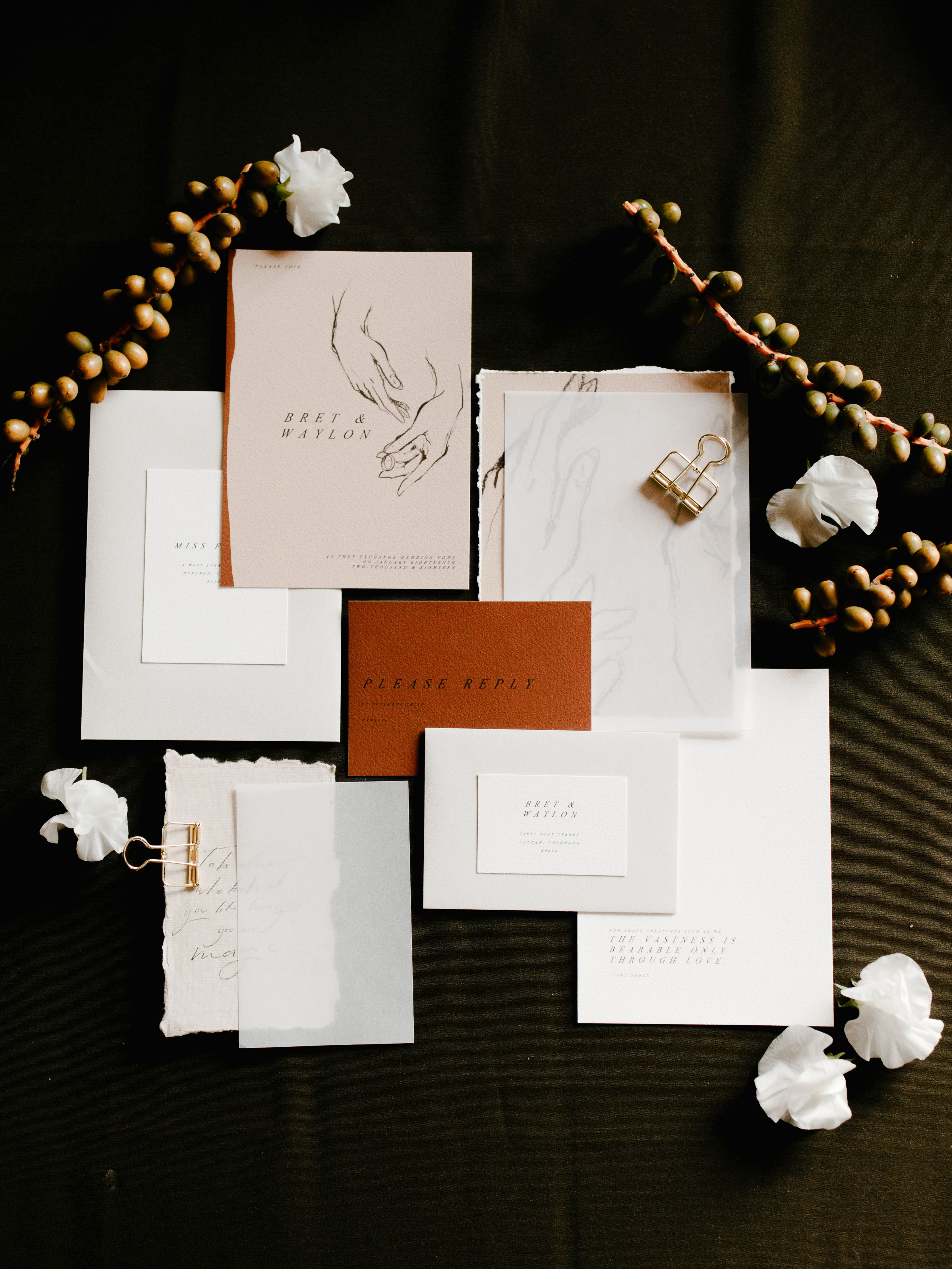 wedding invitation negative space drawn hands art