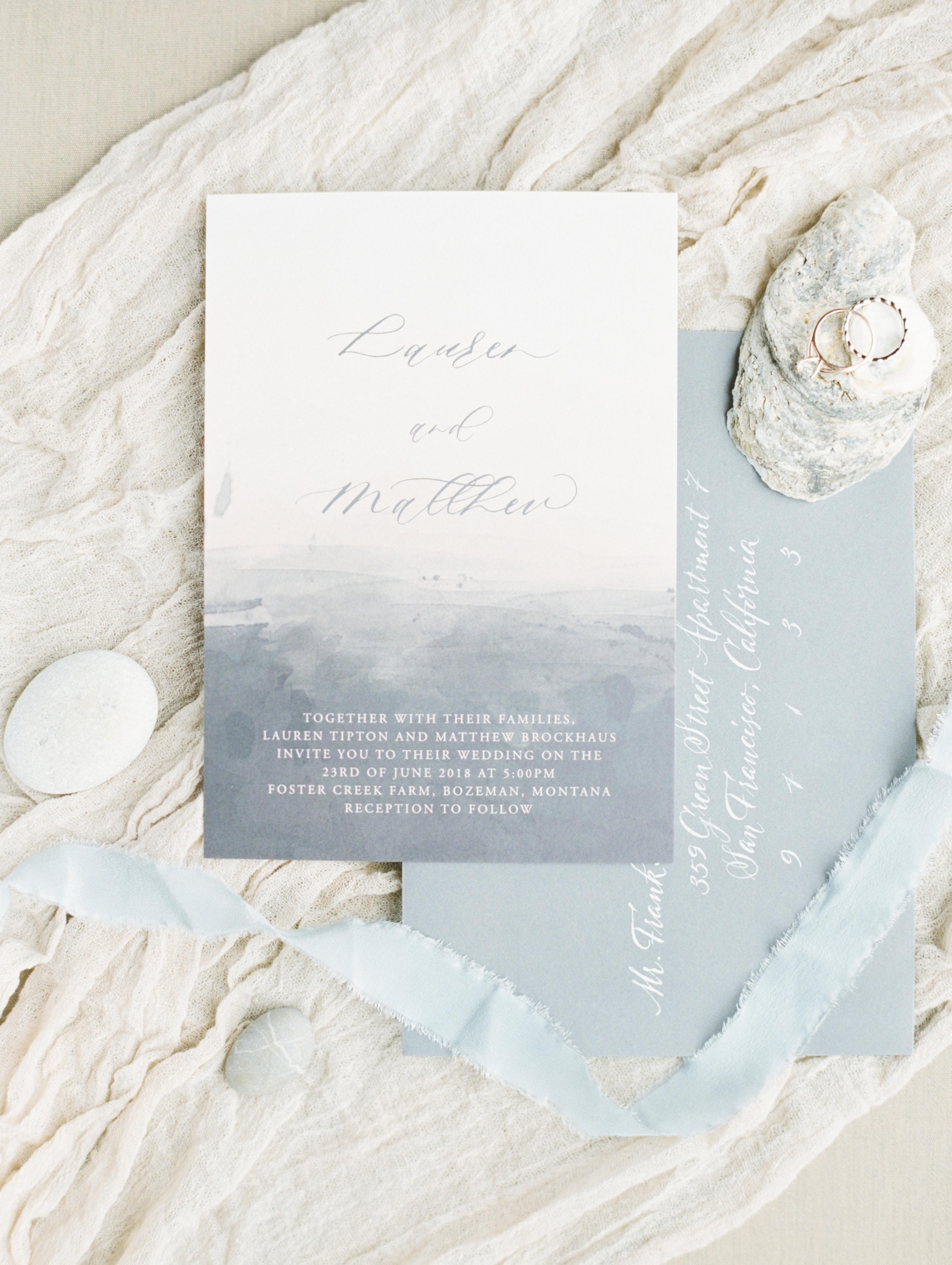 wedding invitation negative space ocean inspired
