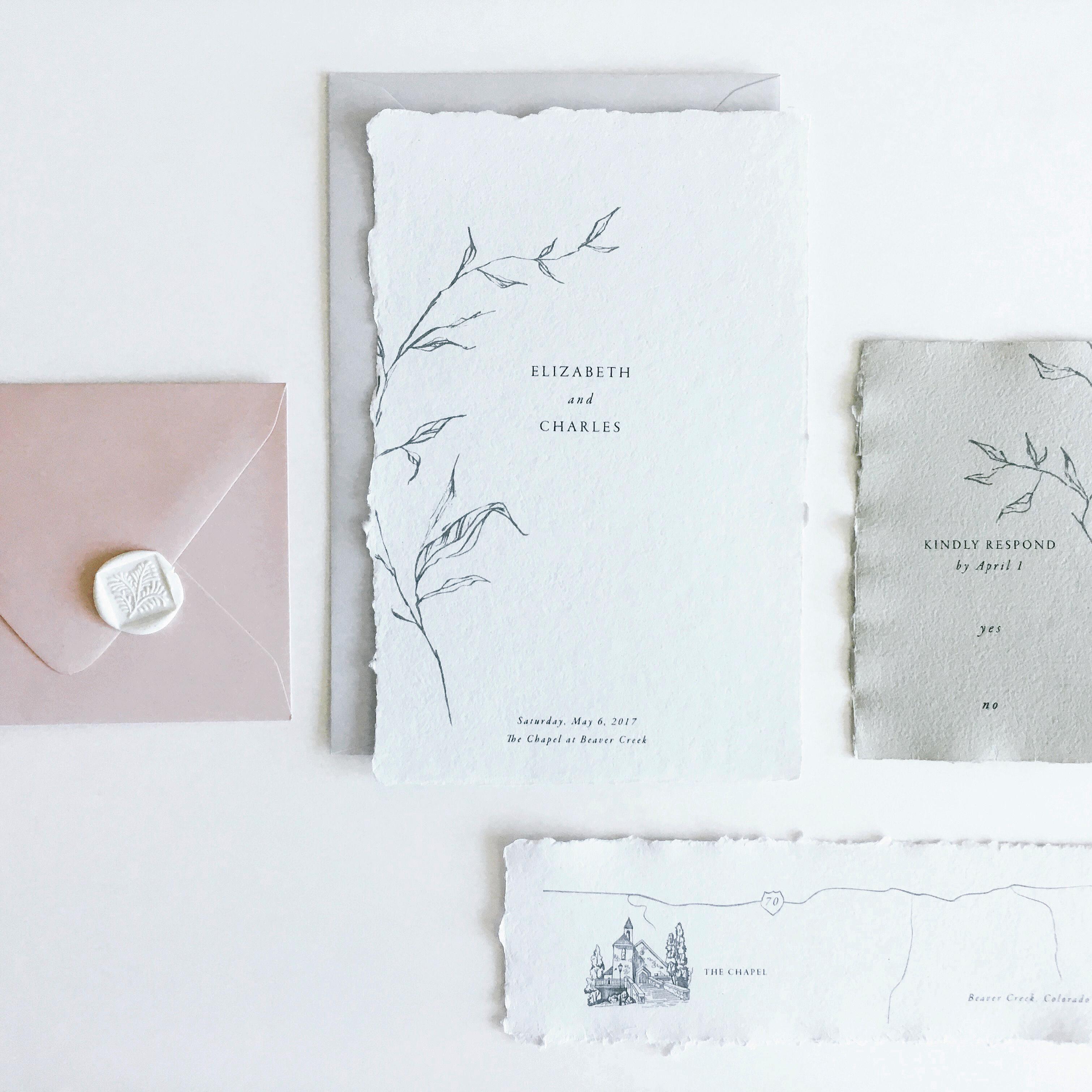 wedding invitation negative space romantic minimalism deckled edges