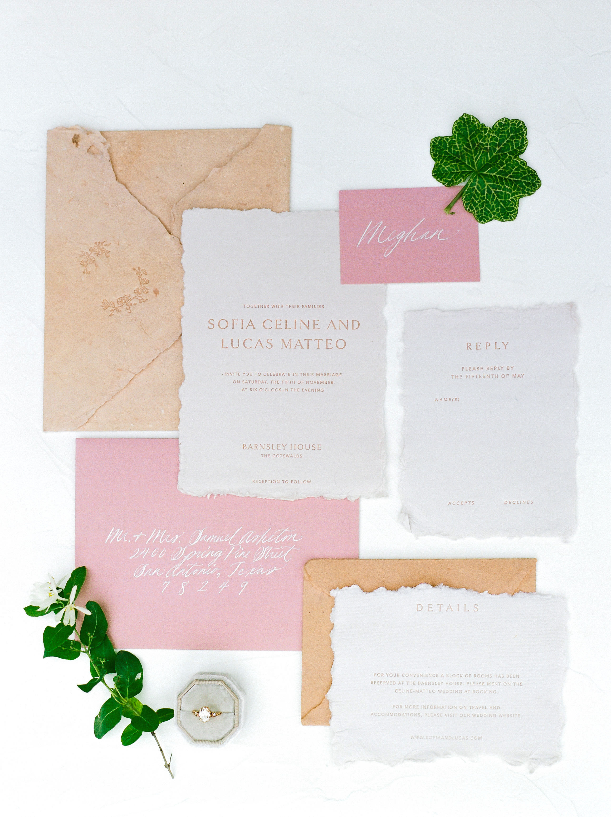 wedding invitation negative space soft hues