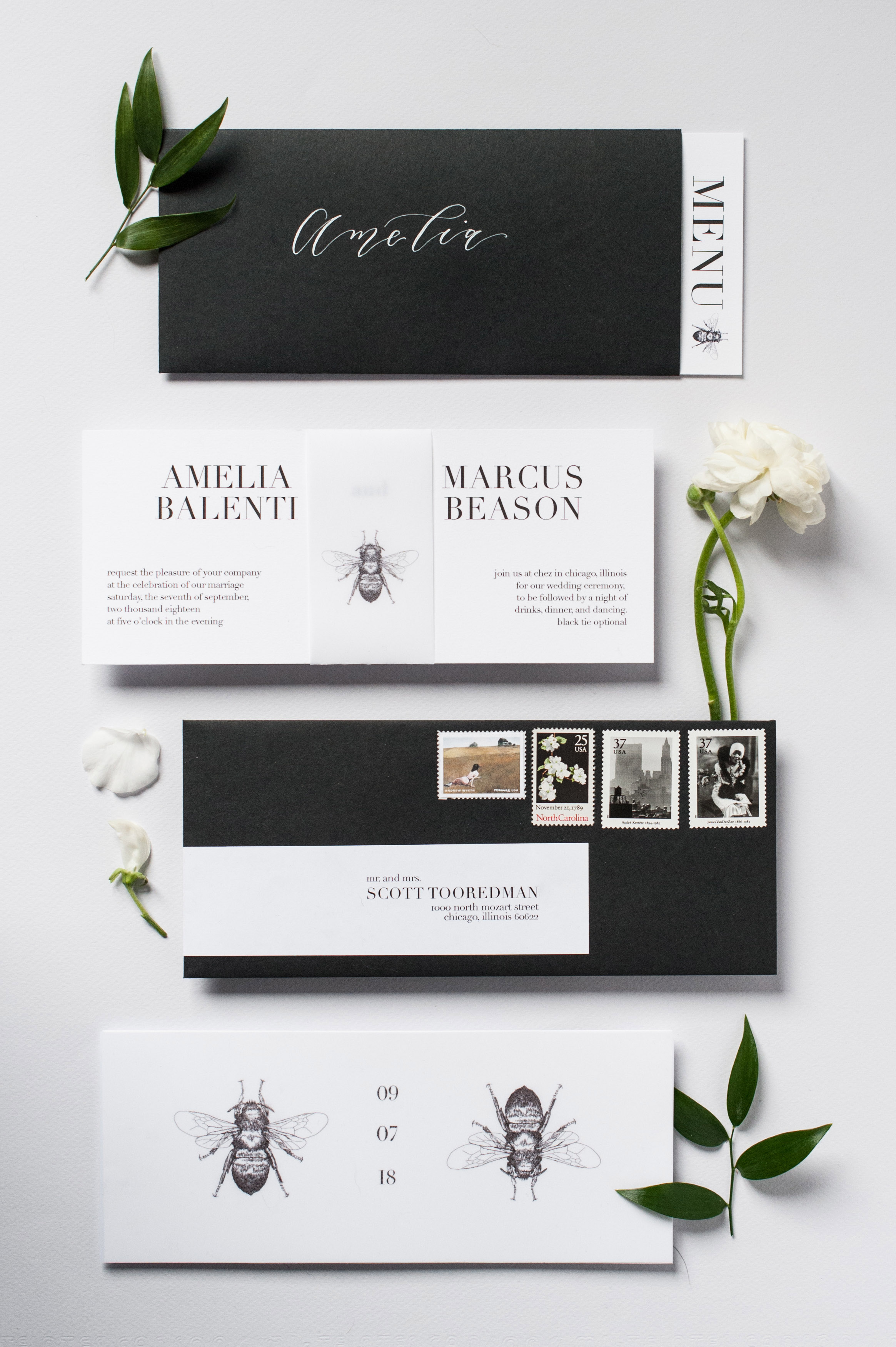 wedding invitation negative space horizontal illustrated bees