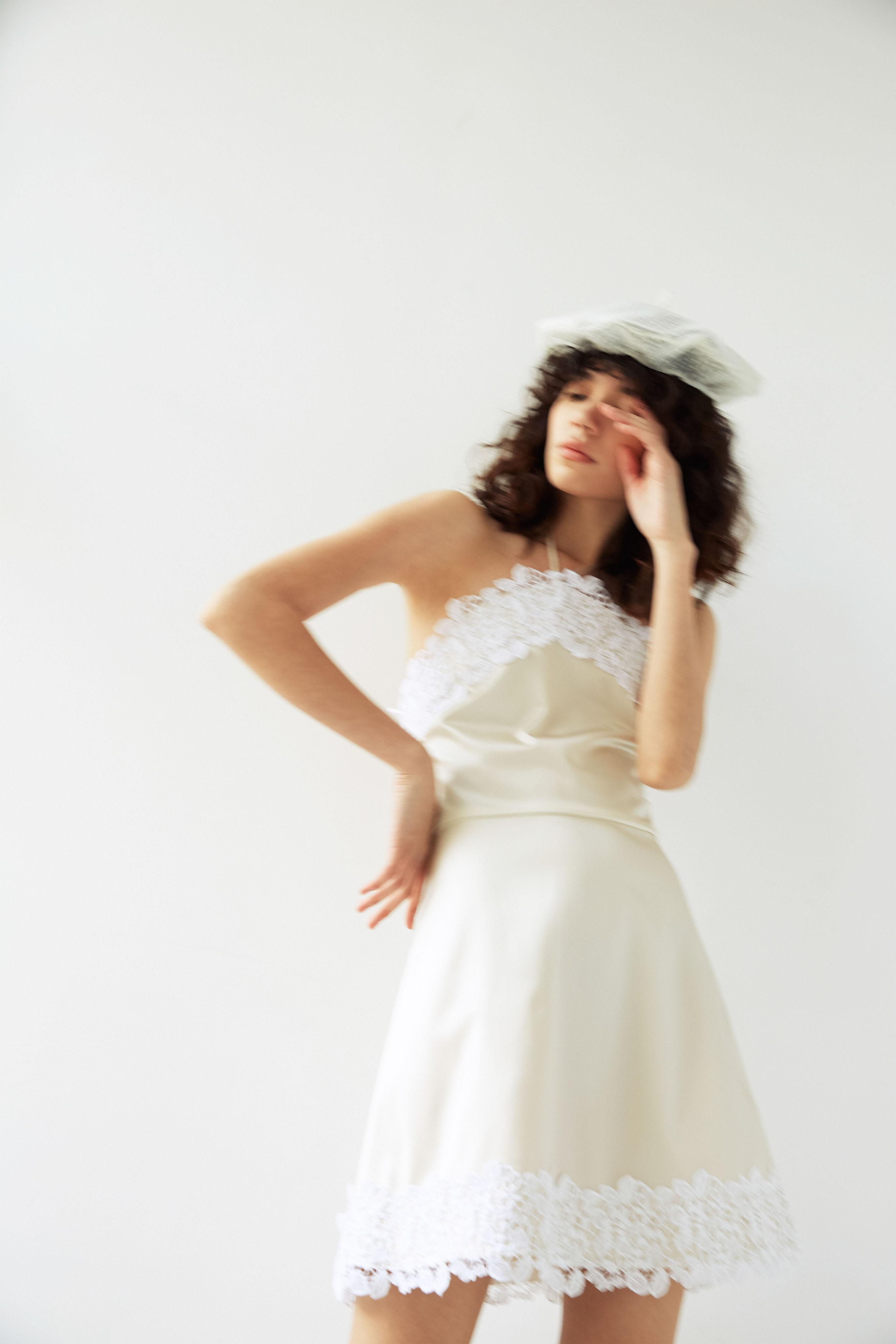 lein wedding dress spring 2020 short silk dress with lace trim