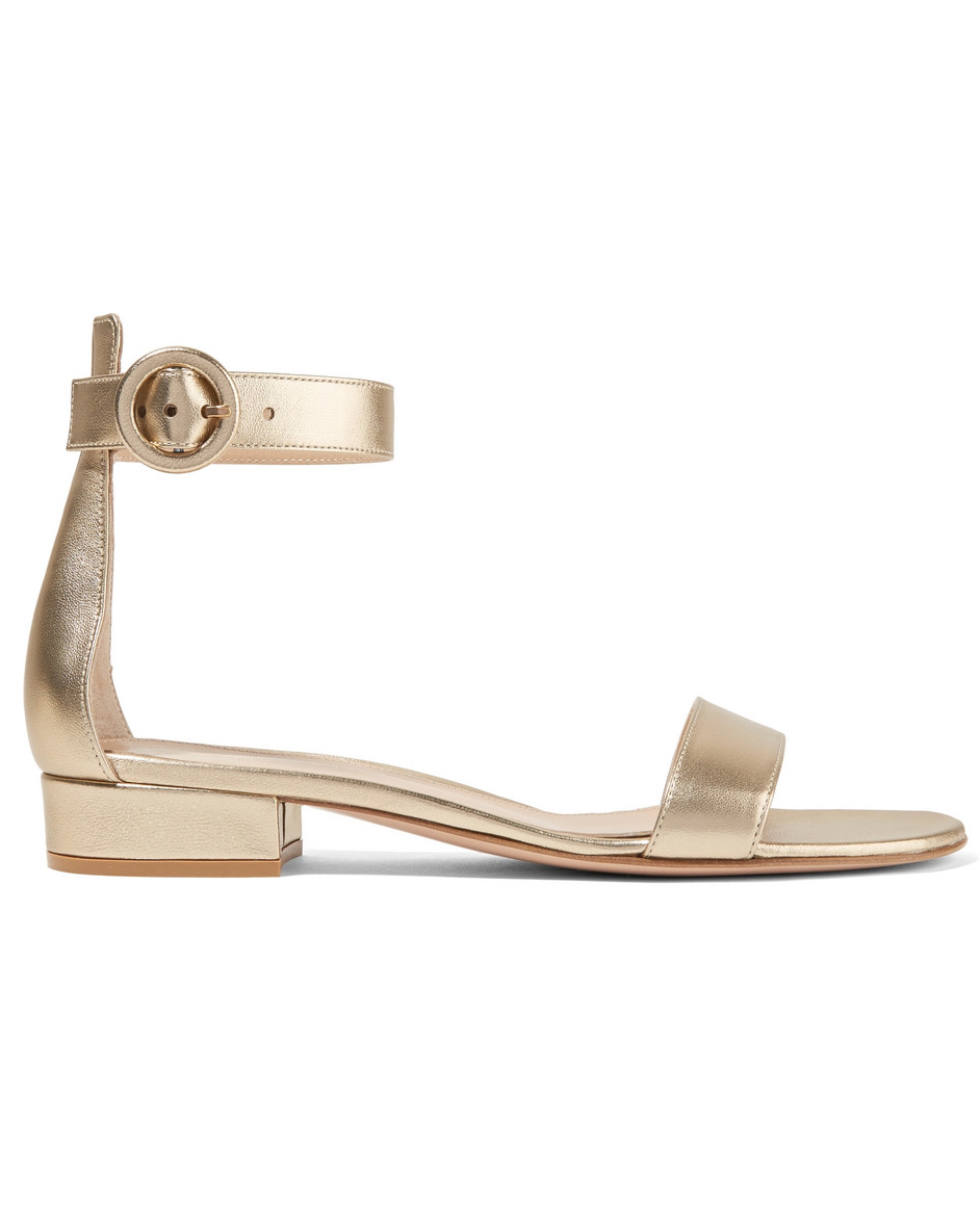 "Gianvito Rossi ""Versilia 20"" Metallic Leather Sandals"