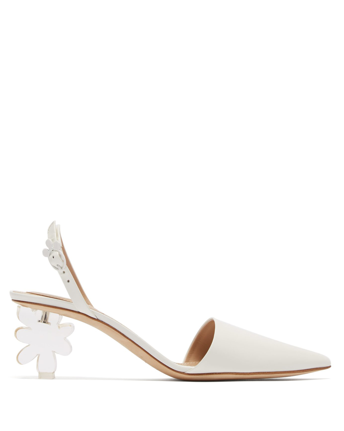 Simone Rocha Plexiglas Flower-Heel Leather Sling-Back Pumps